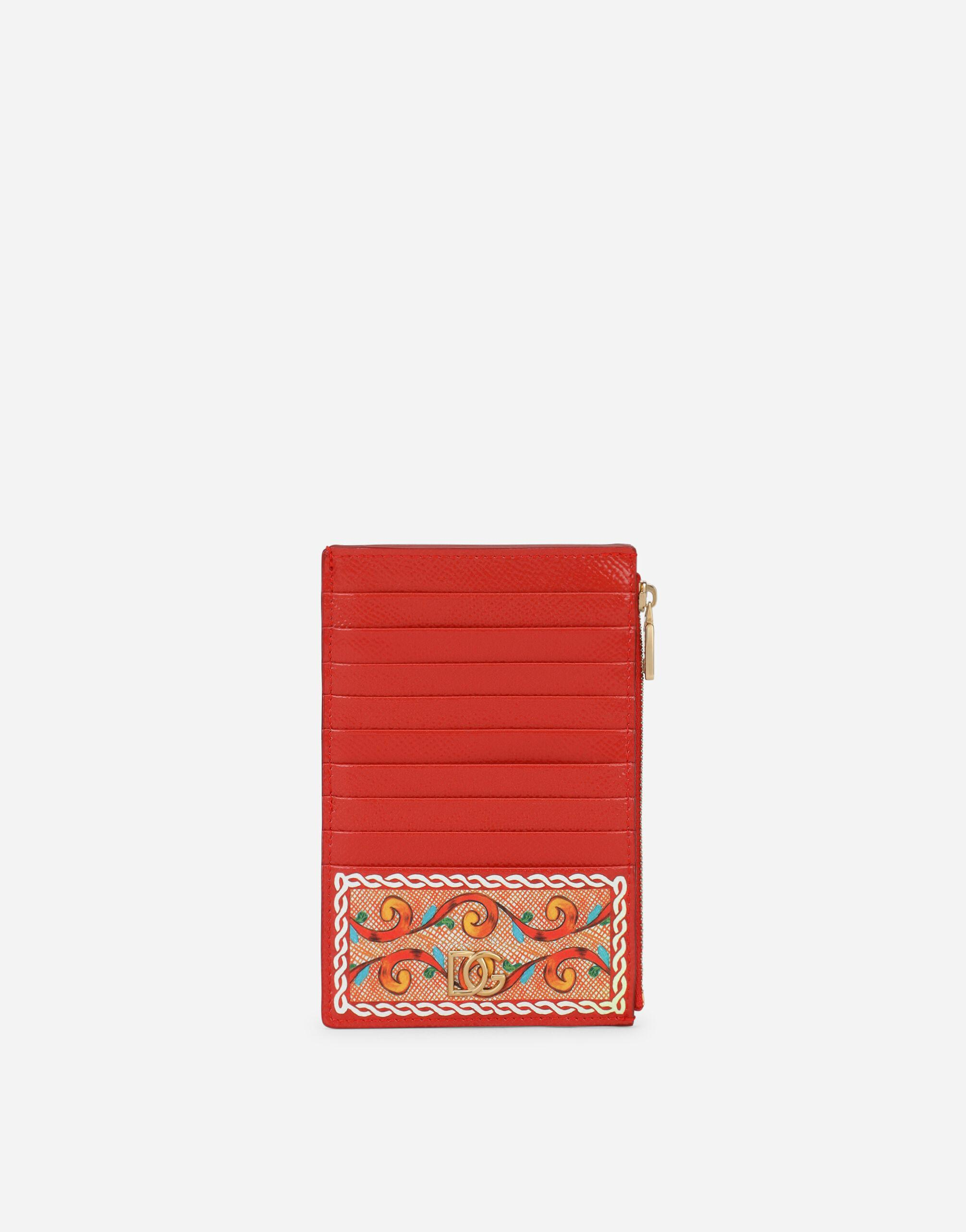 Large vertical card holder in Carretto-print Dauphine calfskin