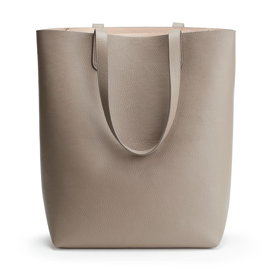 Women's Tall Structured Leather Tote Bag in Stone/Blush Pink | Pebbled Leather by Cuyana