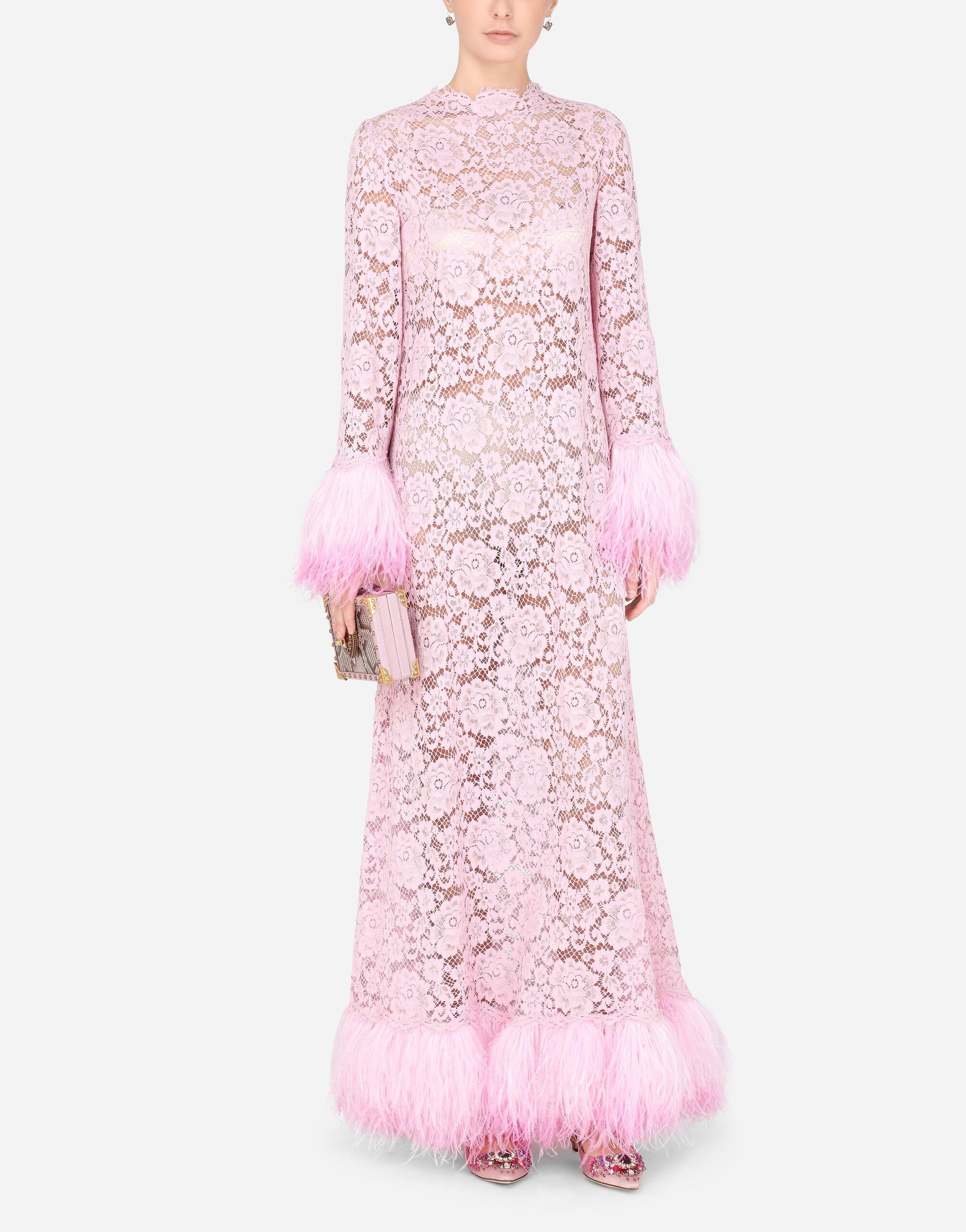 Lace caftan with marabou trim 4