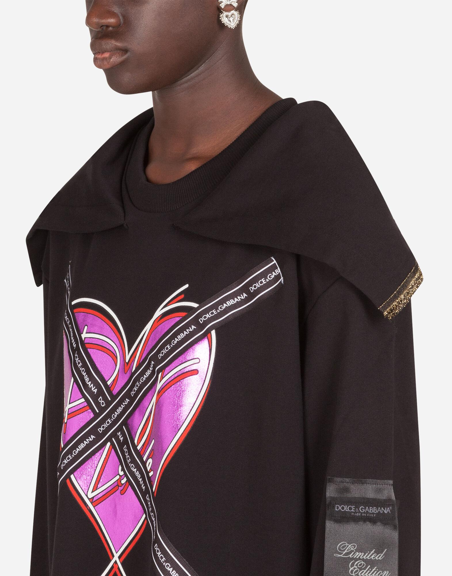 Jersey sweatshirt with heart print and ribbon details 5