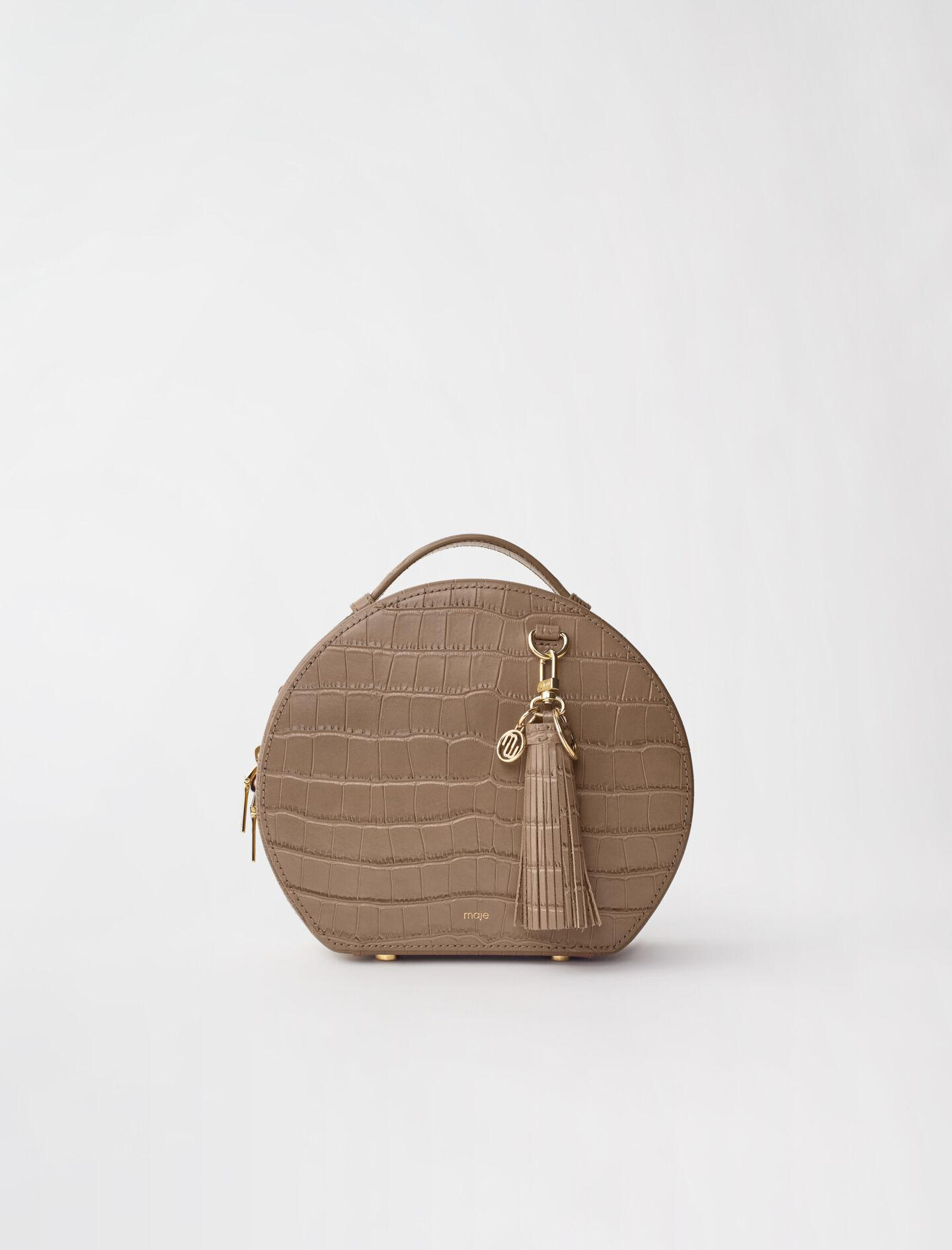 HATBOX BAG IN EMBOSSED LEATHER