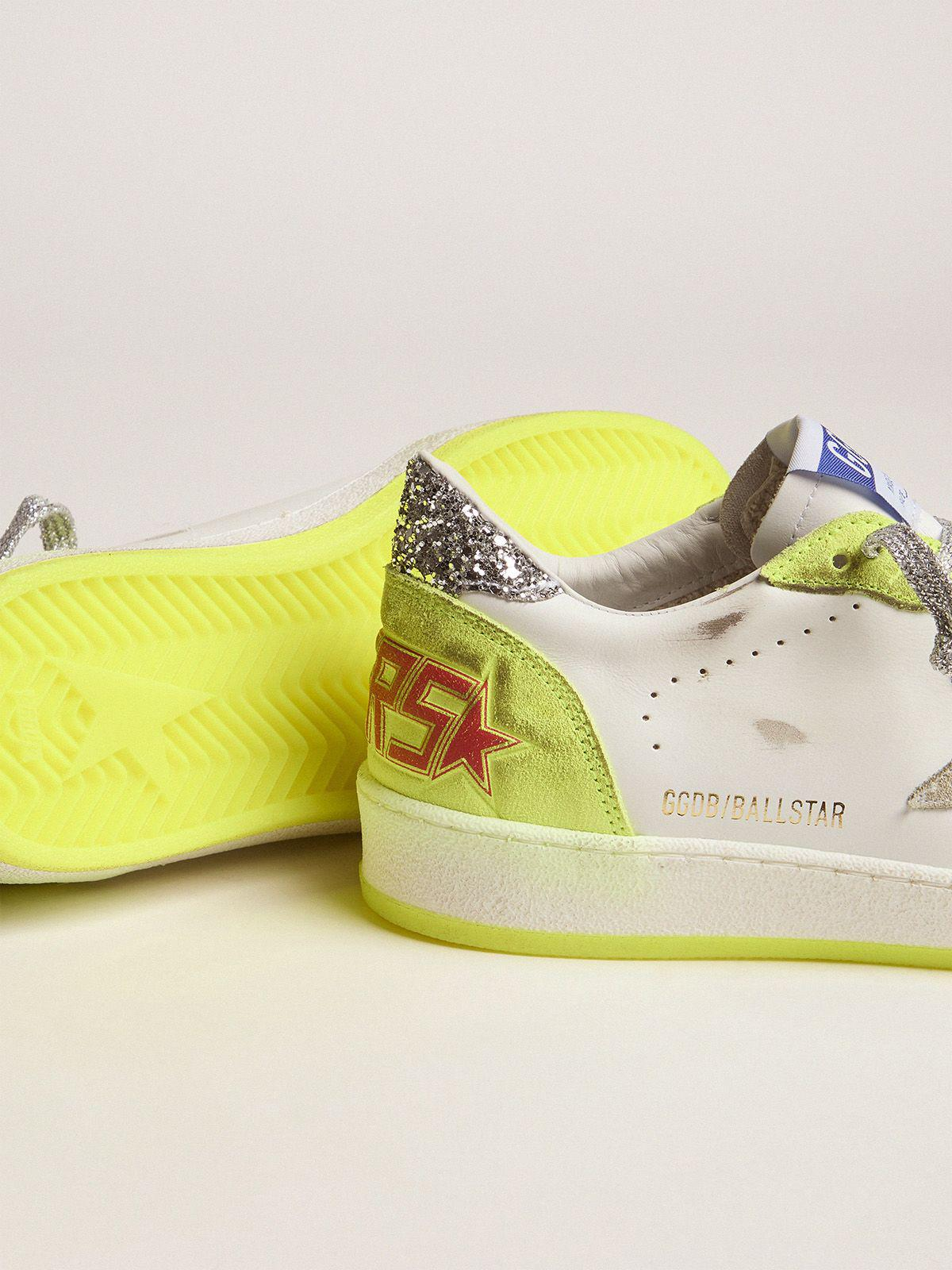 White Ball Star sneakers with fluorescent yellow inserts and glitter 2
