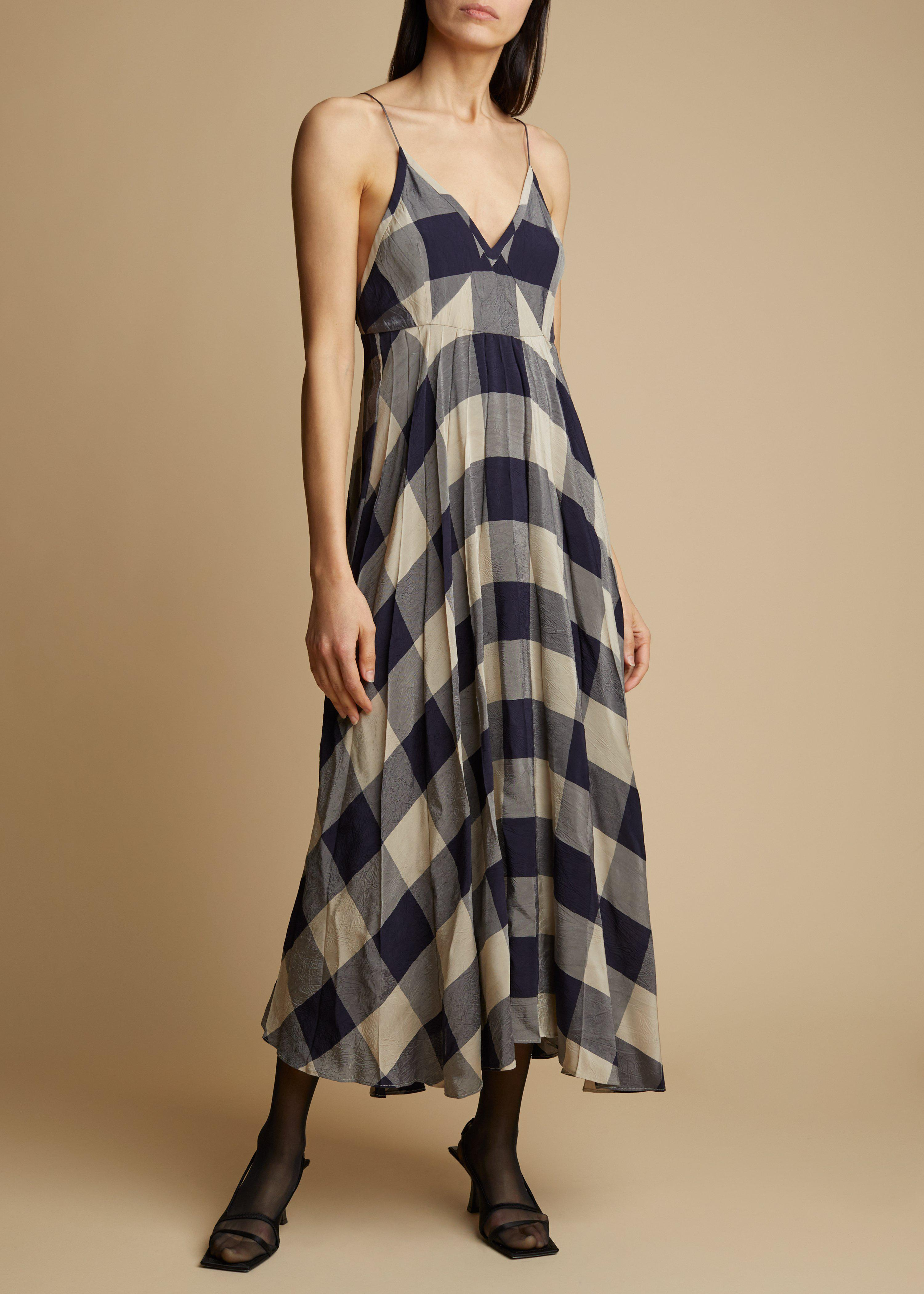 The Lianne Dress in Navy and Sand Check