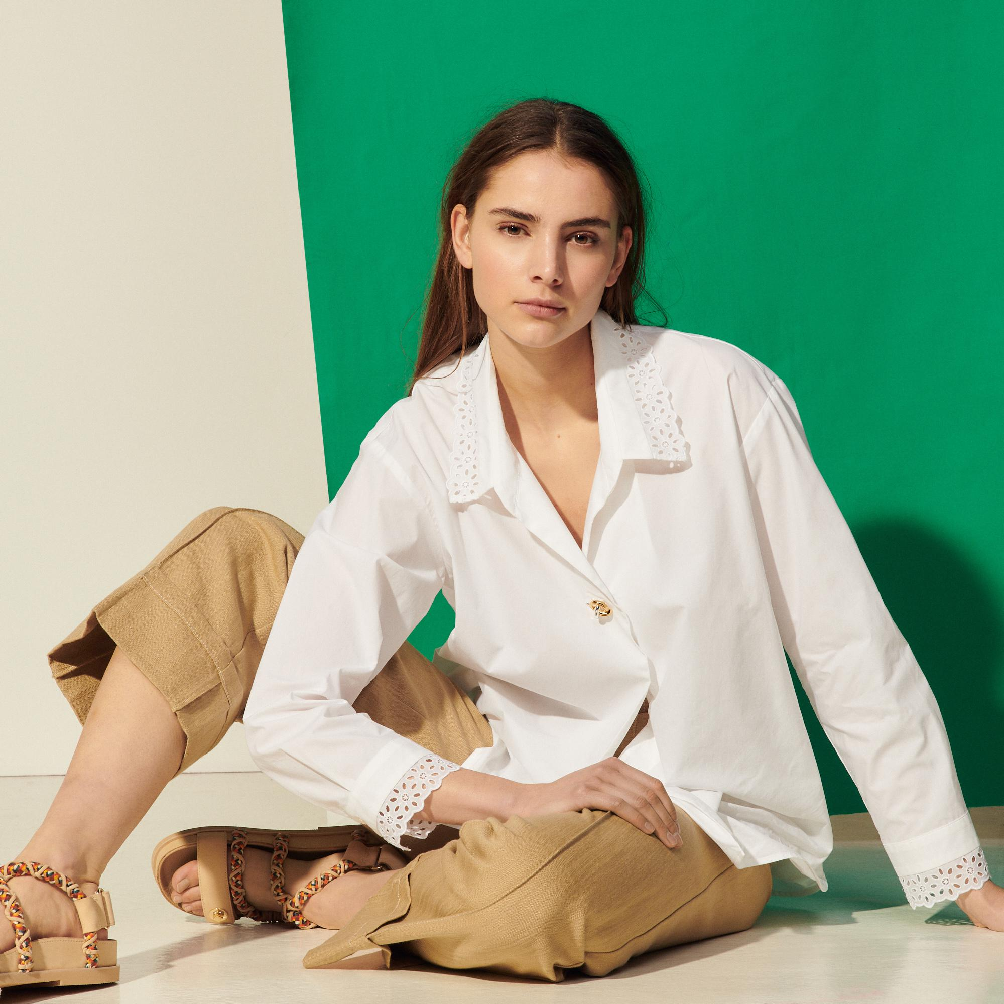 Shirt with broderie anglaise collar