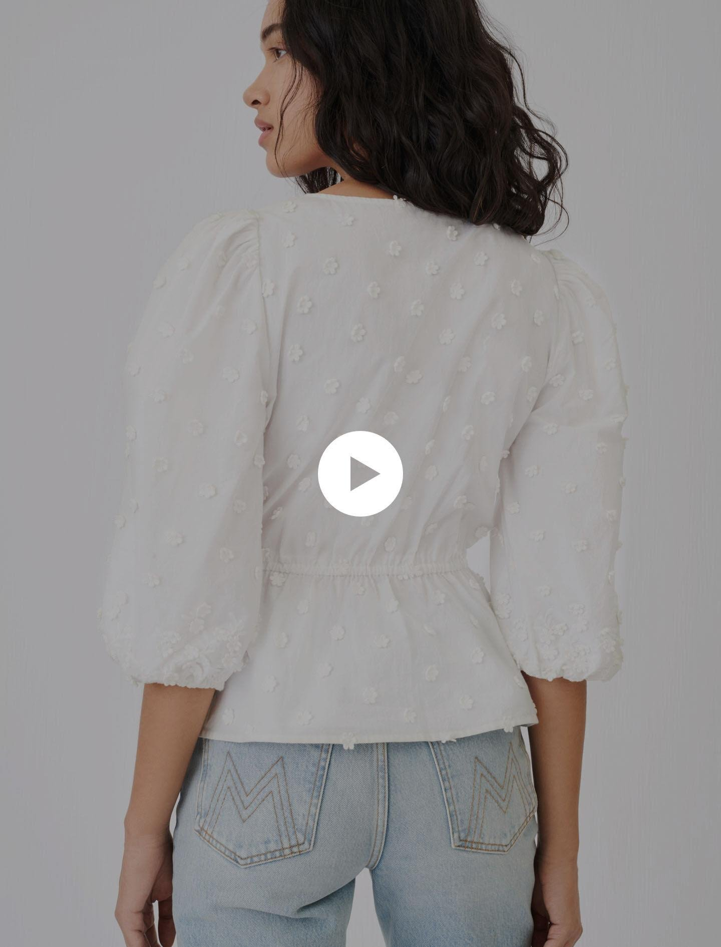 EMBROIDERED TOP WITH GATHERED WAIST 3