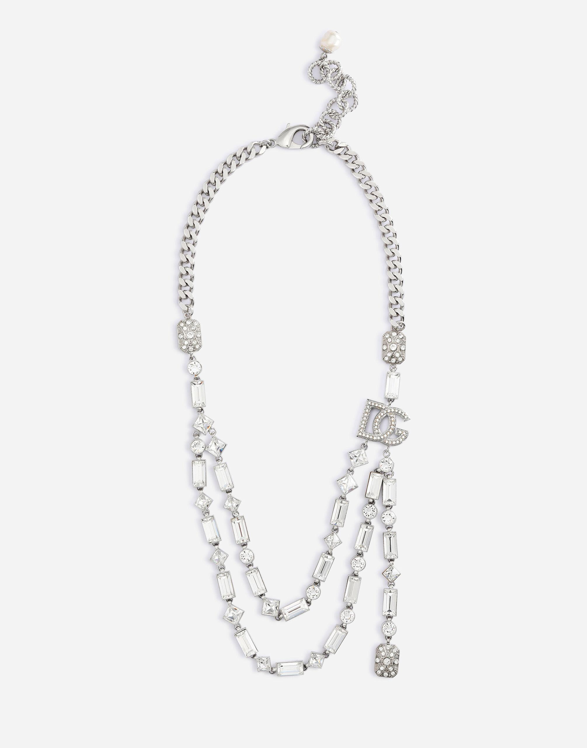 Double-link necklace with DG logo and rhinestone-detailed pendant