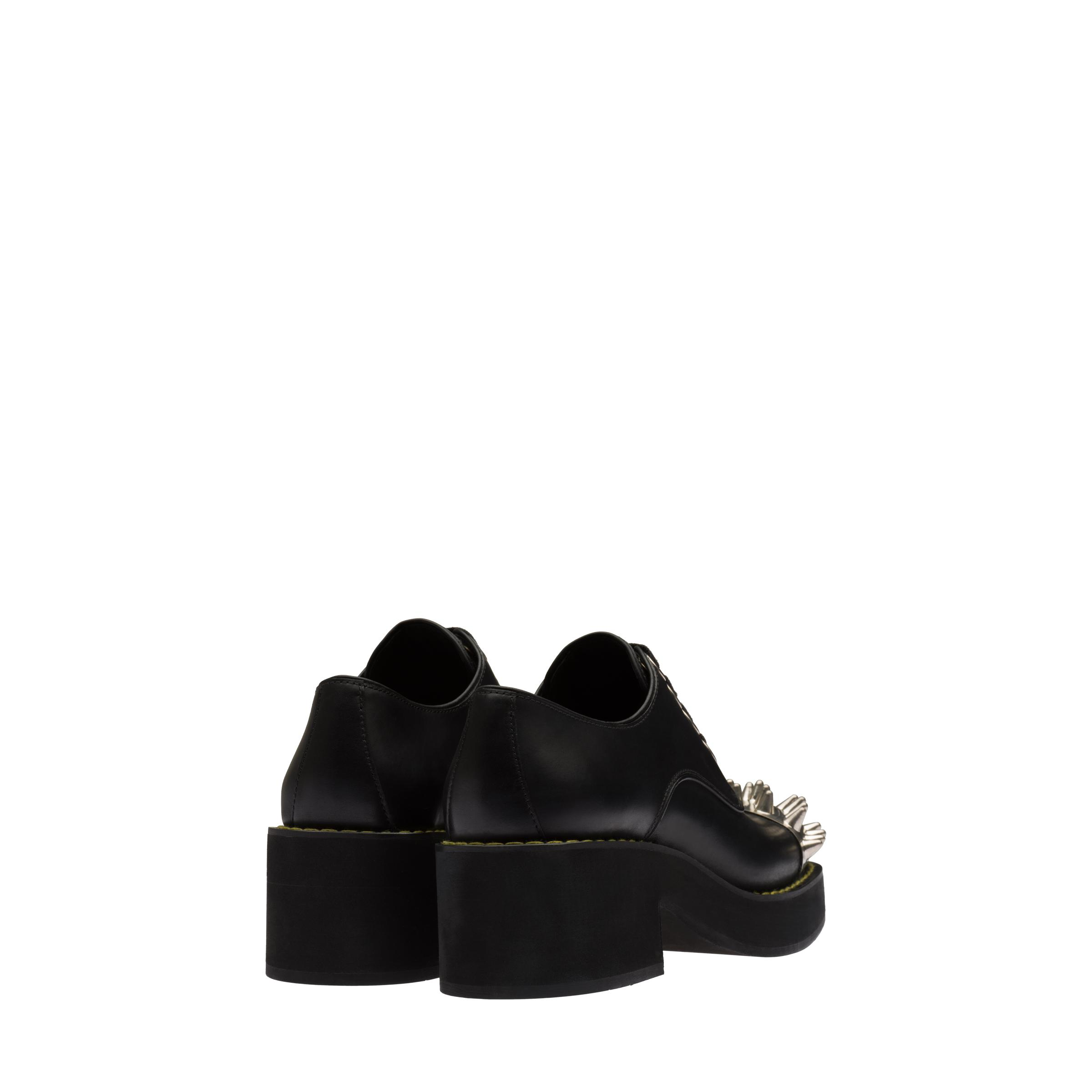 Studded Leather Laced Derby Shoes Women Black 3