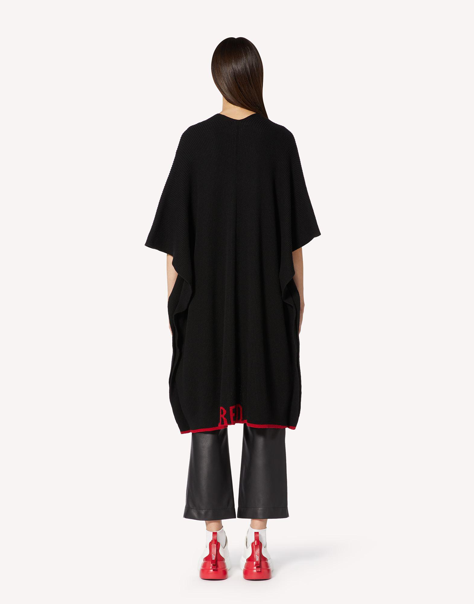 RED EMBROIDERED WOOL-BLEND KNIT CAPE 1