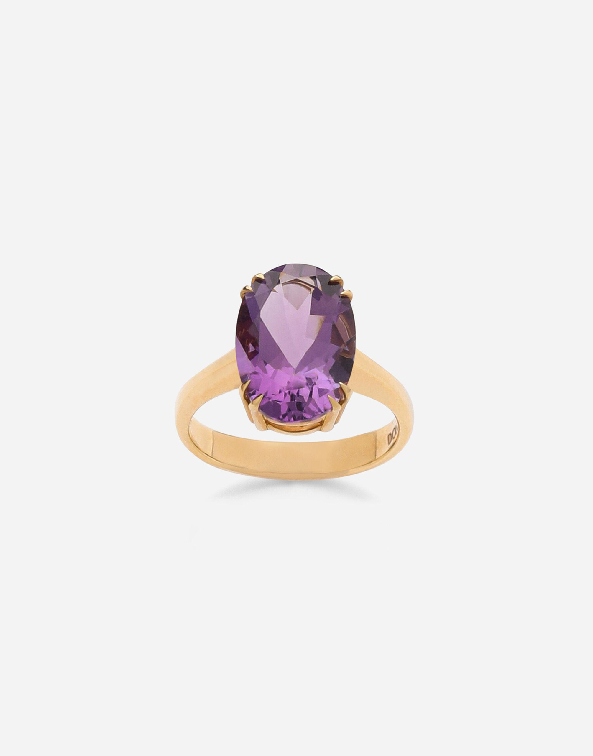 Anna ring in yellow 18kt gold with amethyst
