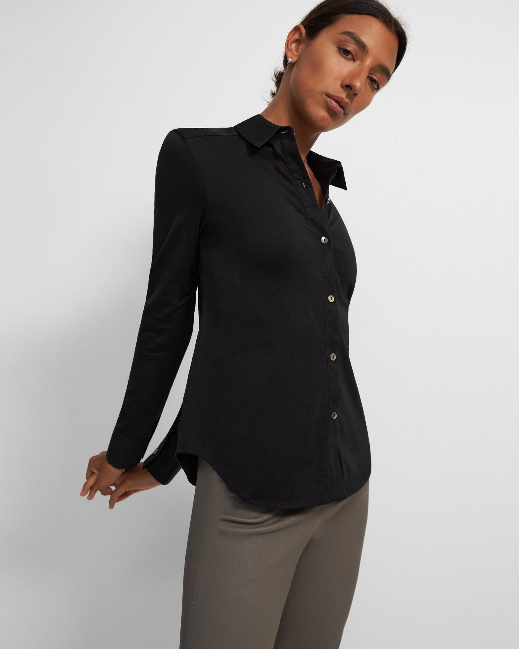 Button-Up Shirt in Organic Cotton Knit