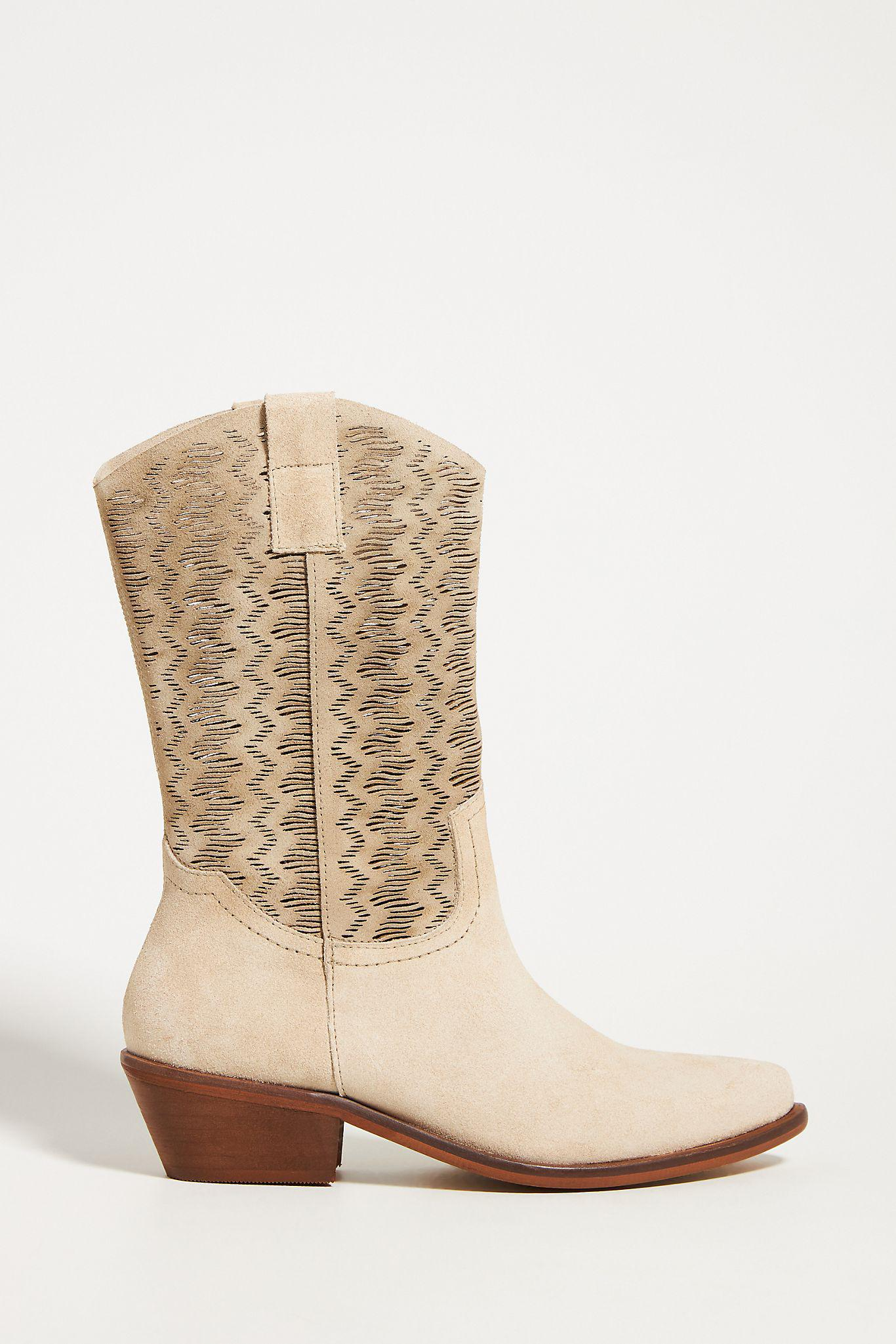 Cut-Out Suede Western Boots
