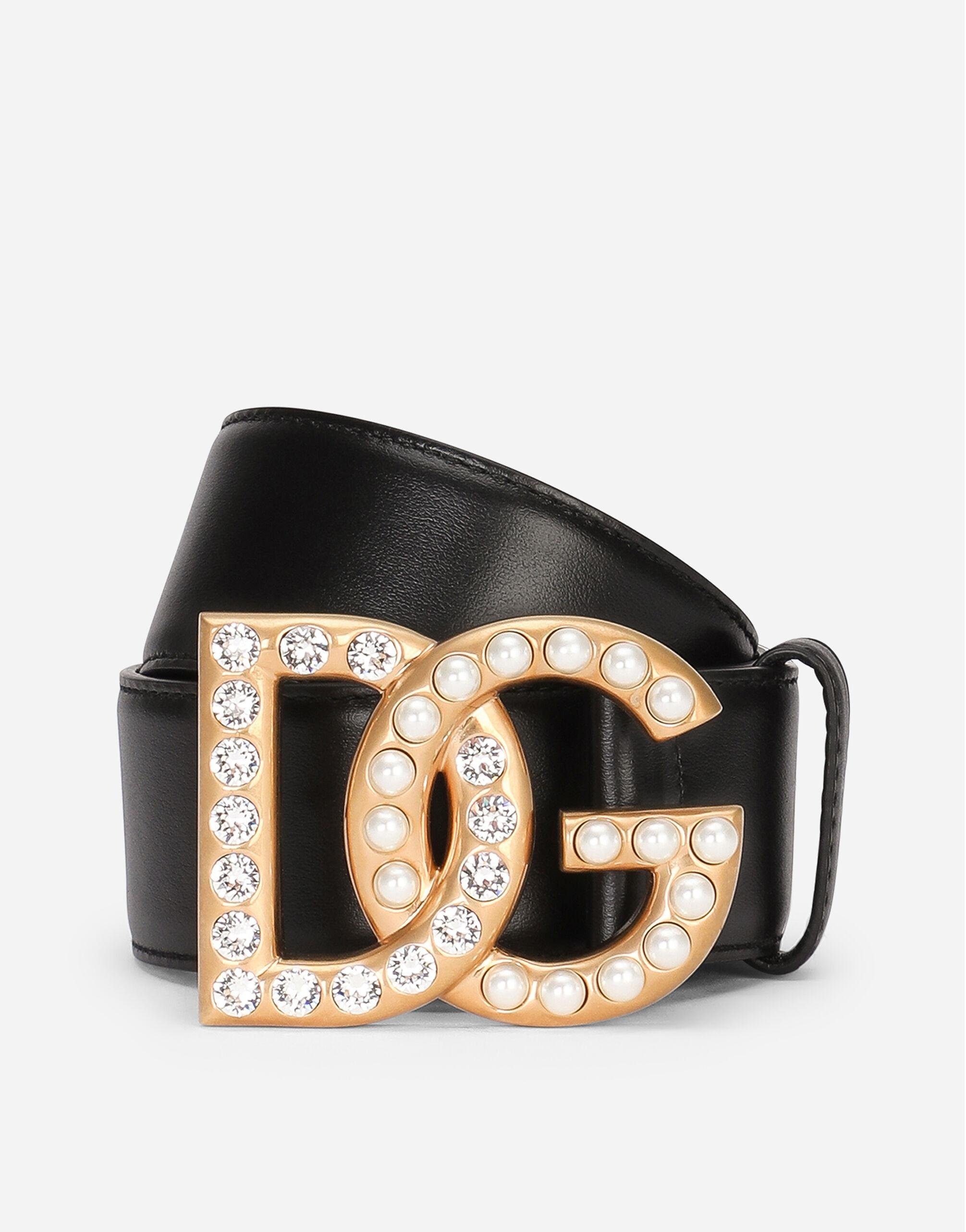 Calfskin belt with DG logo with rhinestones and pearls