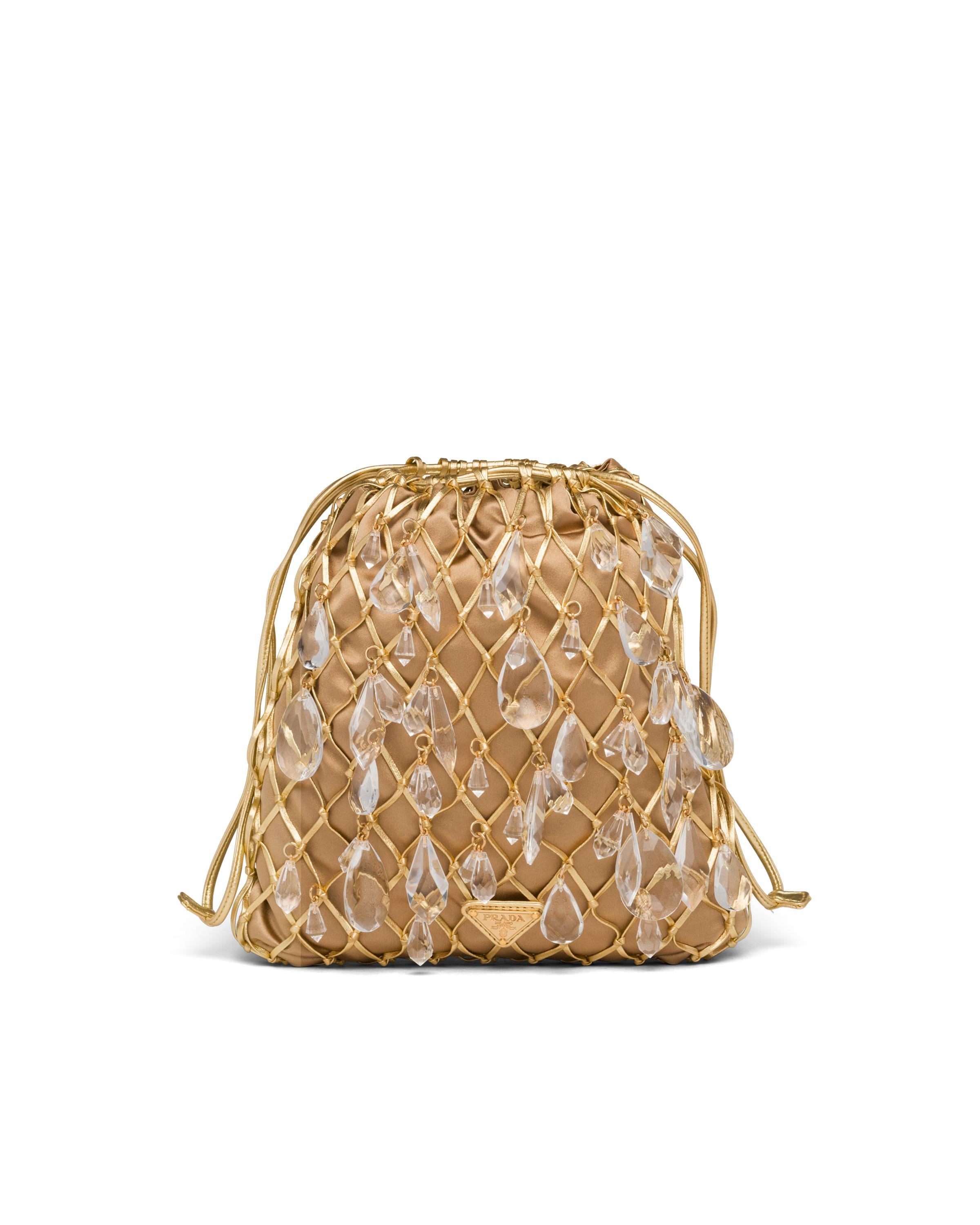 Leather Mesh And Satin Clutch Women Gold 7