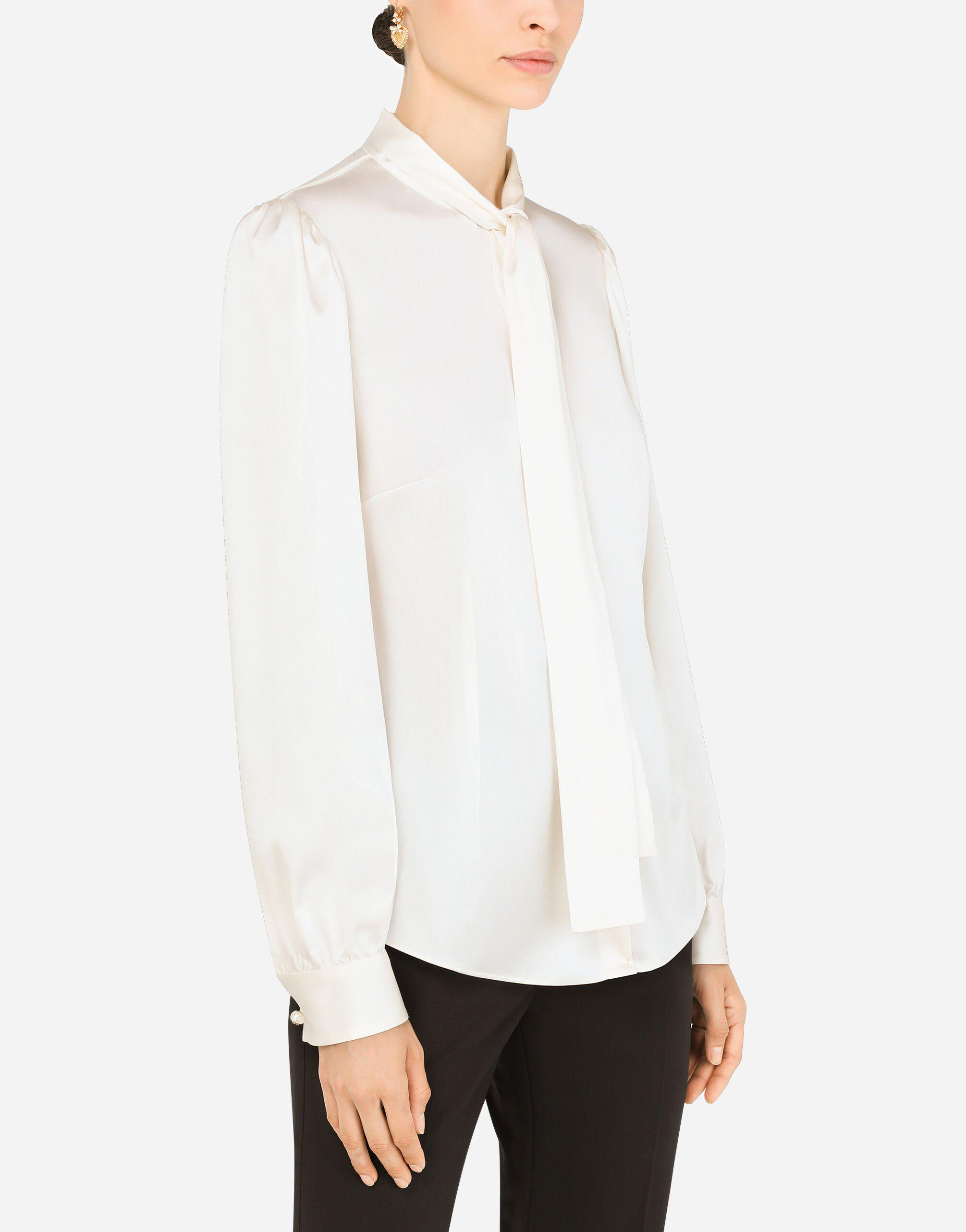 Satin shirt with pearl buttons with DG logo 2
