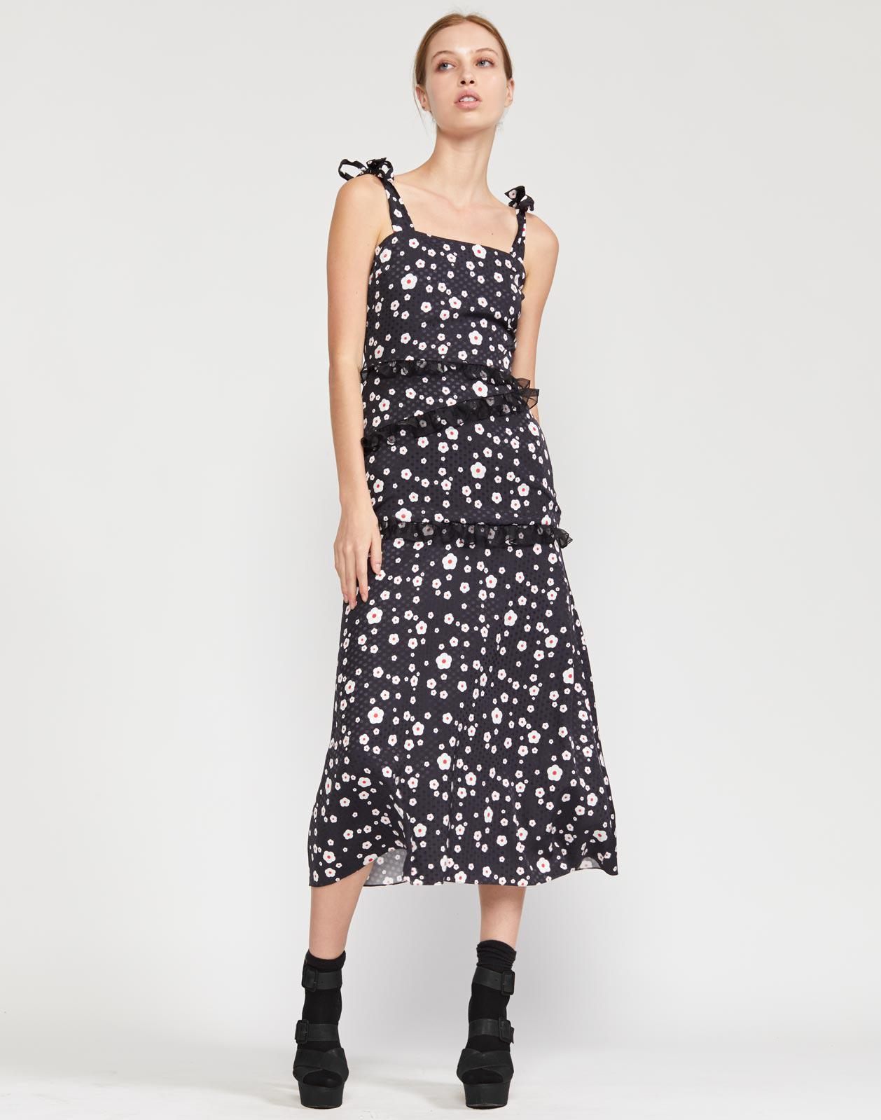 Daisy Tie Shoulder Fitted Dress