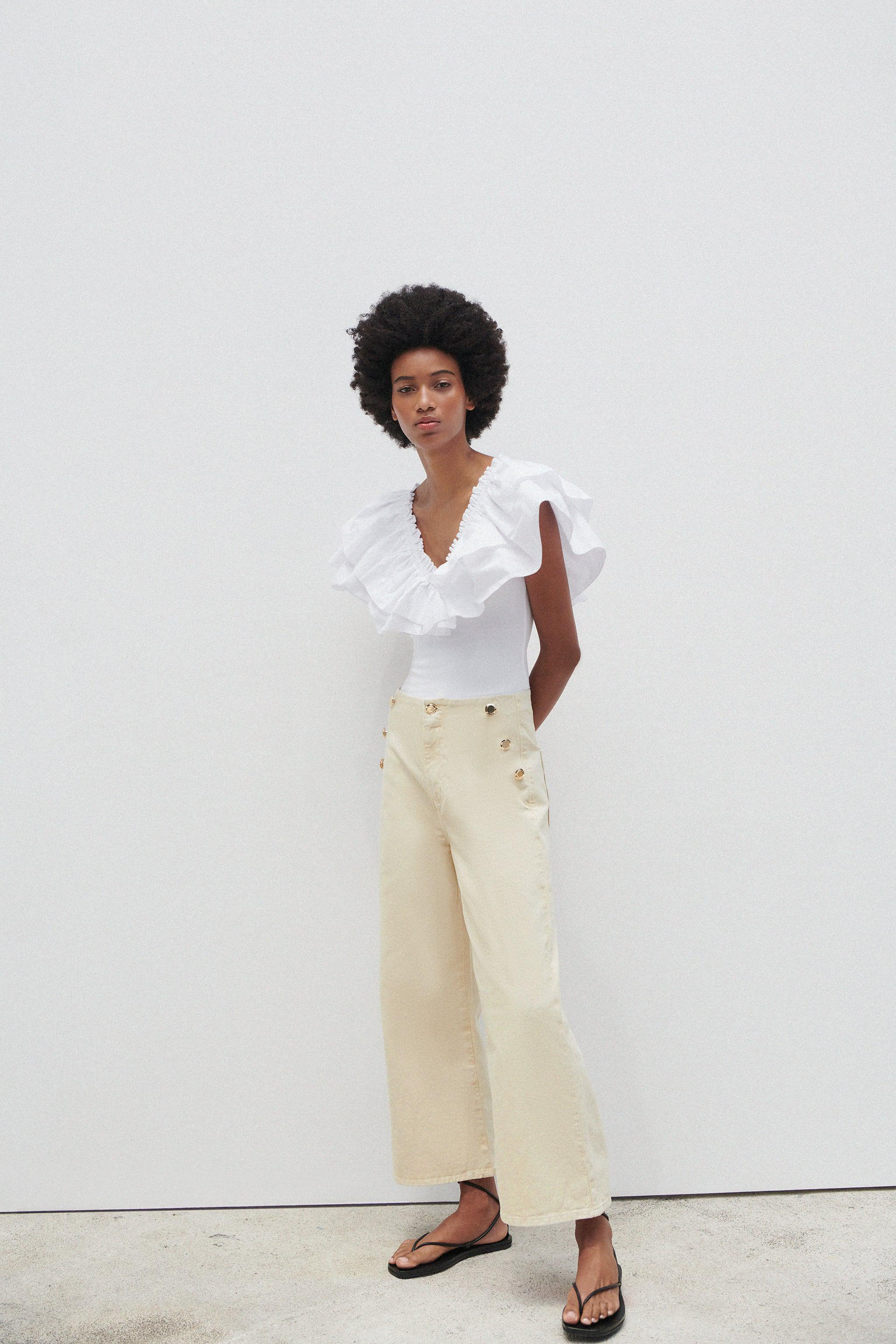Z1975 CROPPED WIDE LEG BUTTONED JEANS 0