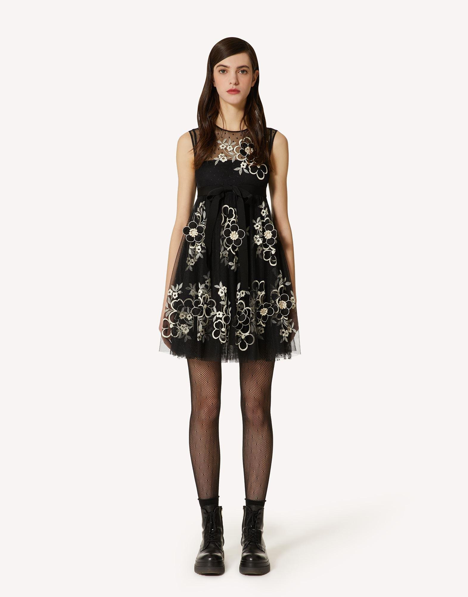 POINT D'ESPRIT TULLE DRESS WITH FLORAL EMBROIDERY