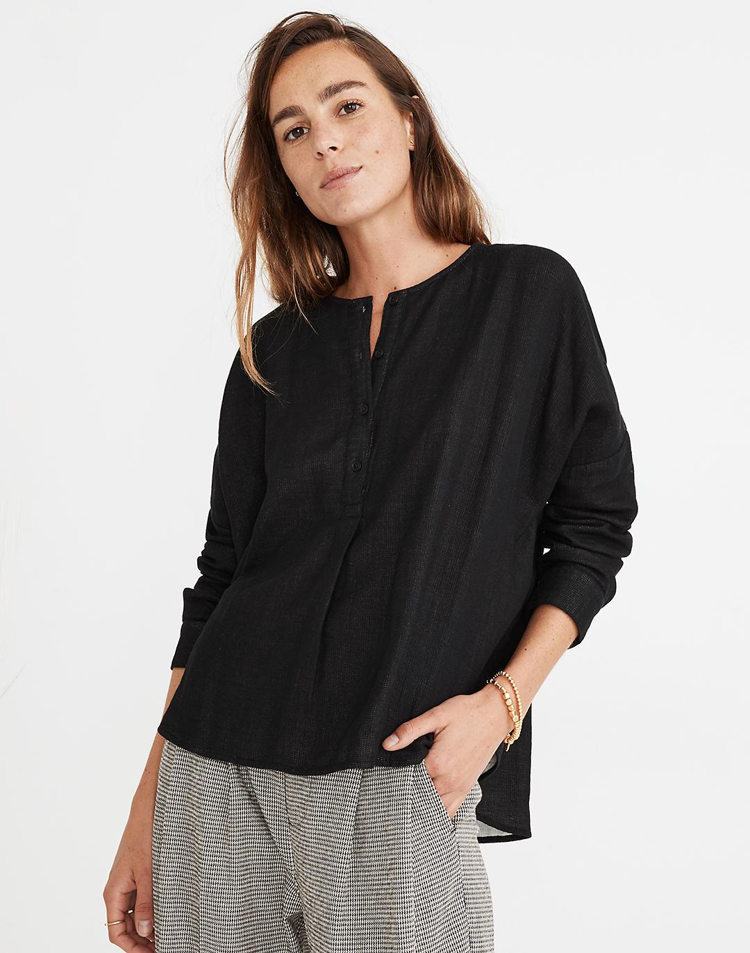 Double-Faced Henley Cocoon Top