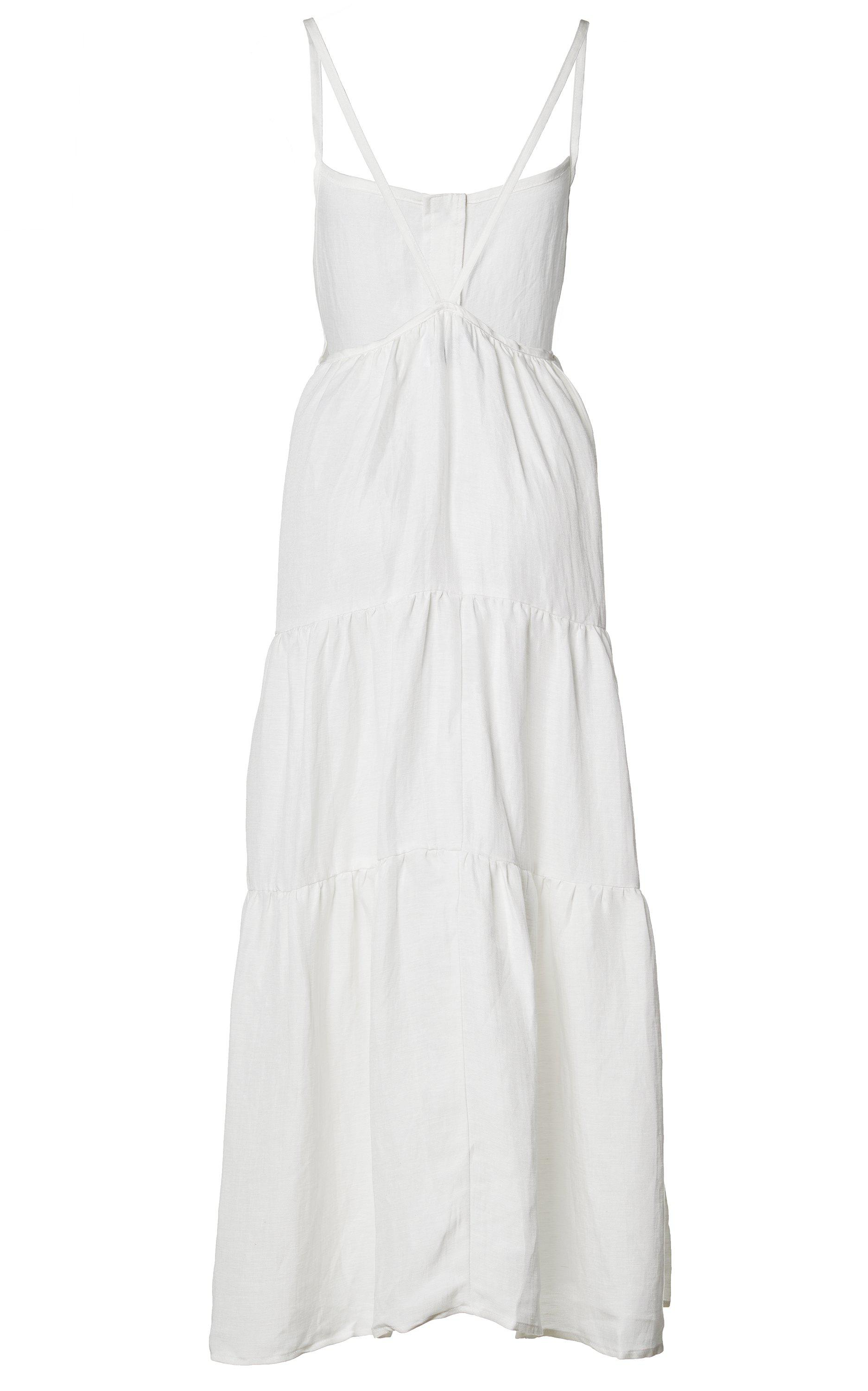 The Flounce Tiered Button-Down Midi Dress in Linen Cupro 3