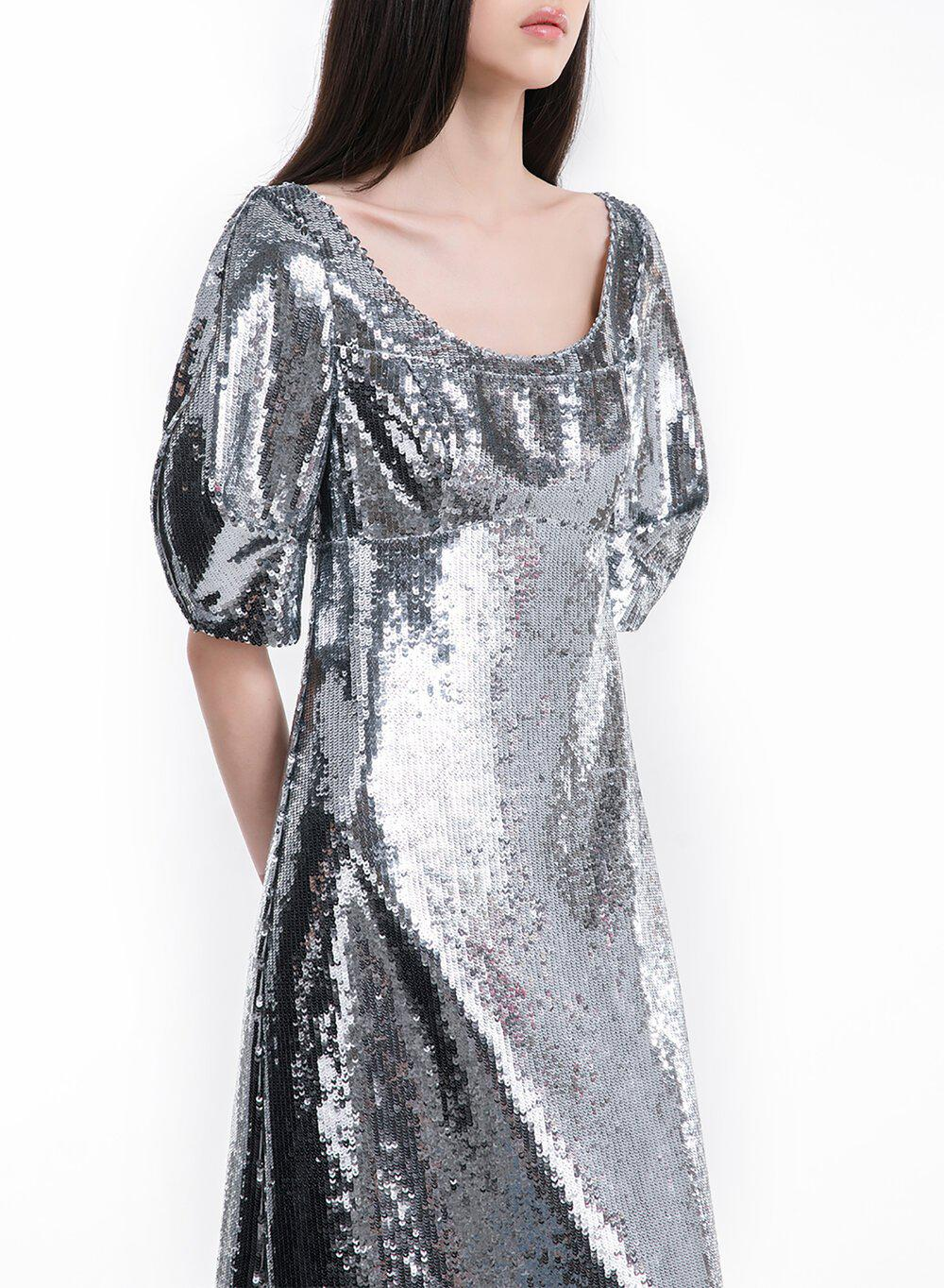 ALESSIA DRESS SILVER SEQUINS