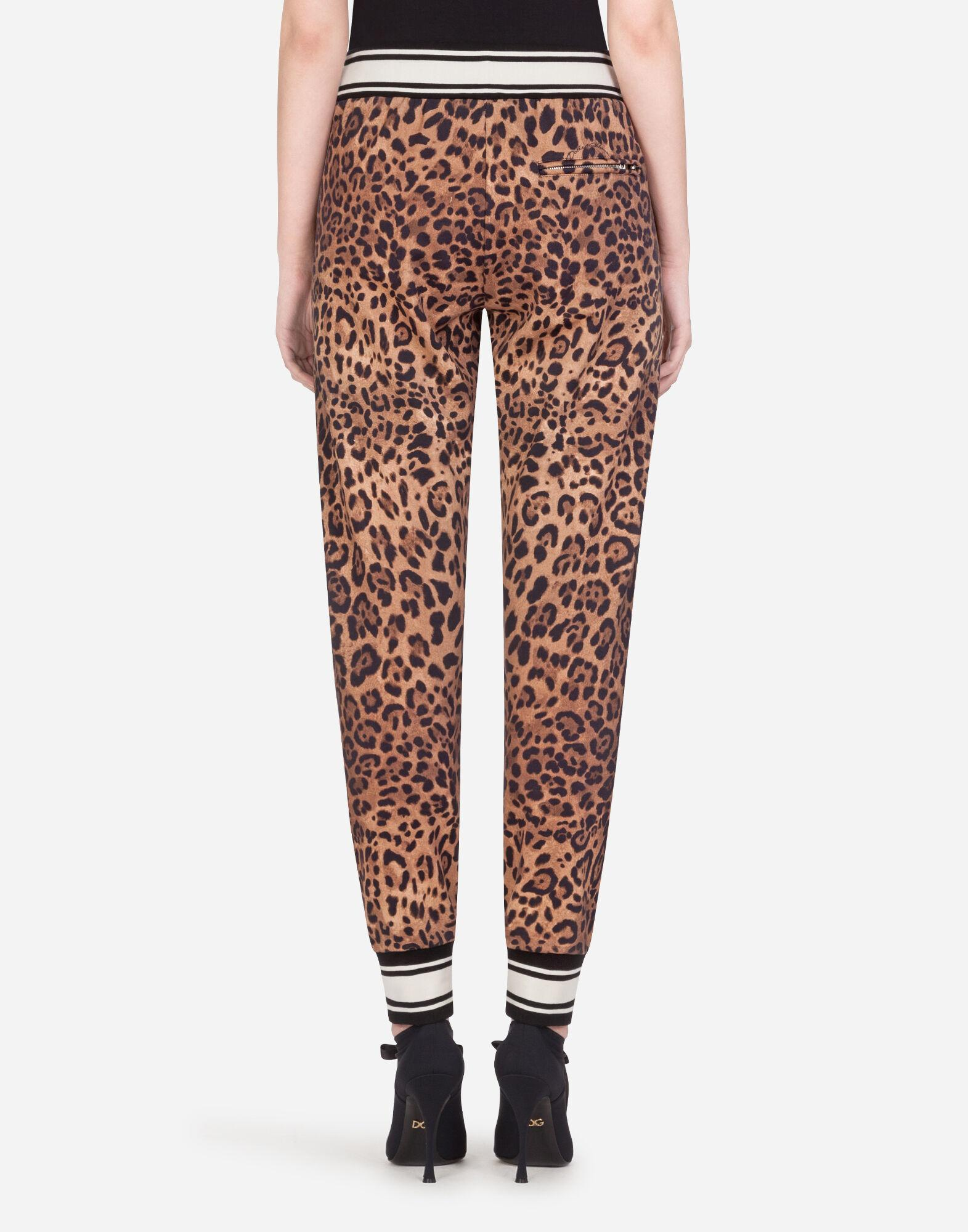 Jersey jogging pants with leopard print 1
