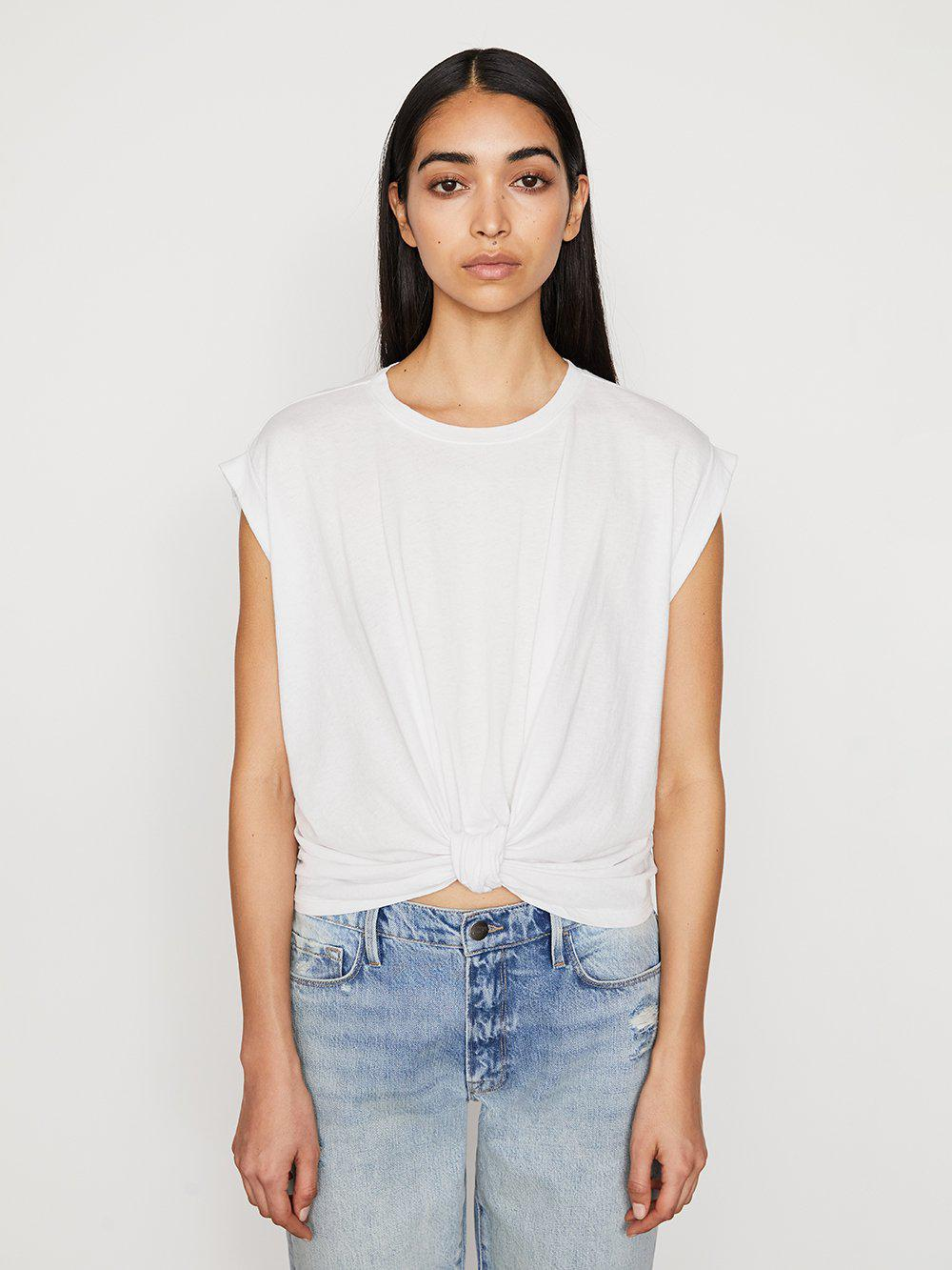 Knotted Rolled Tee -- Blanc