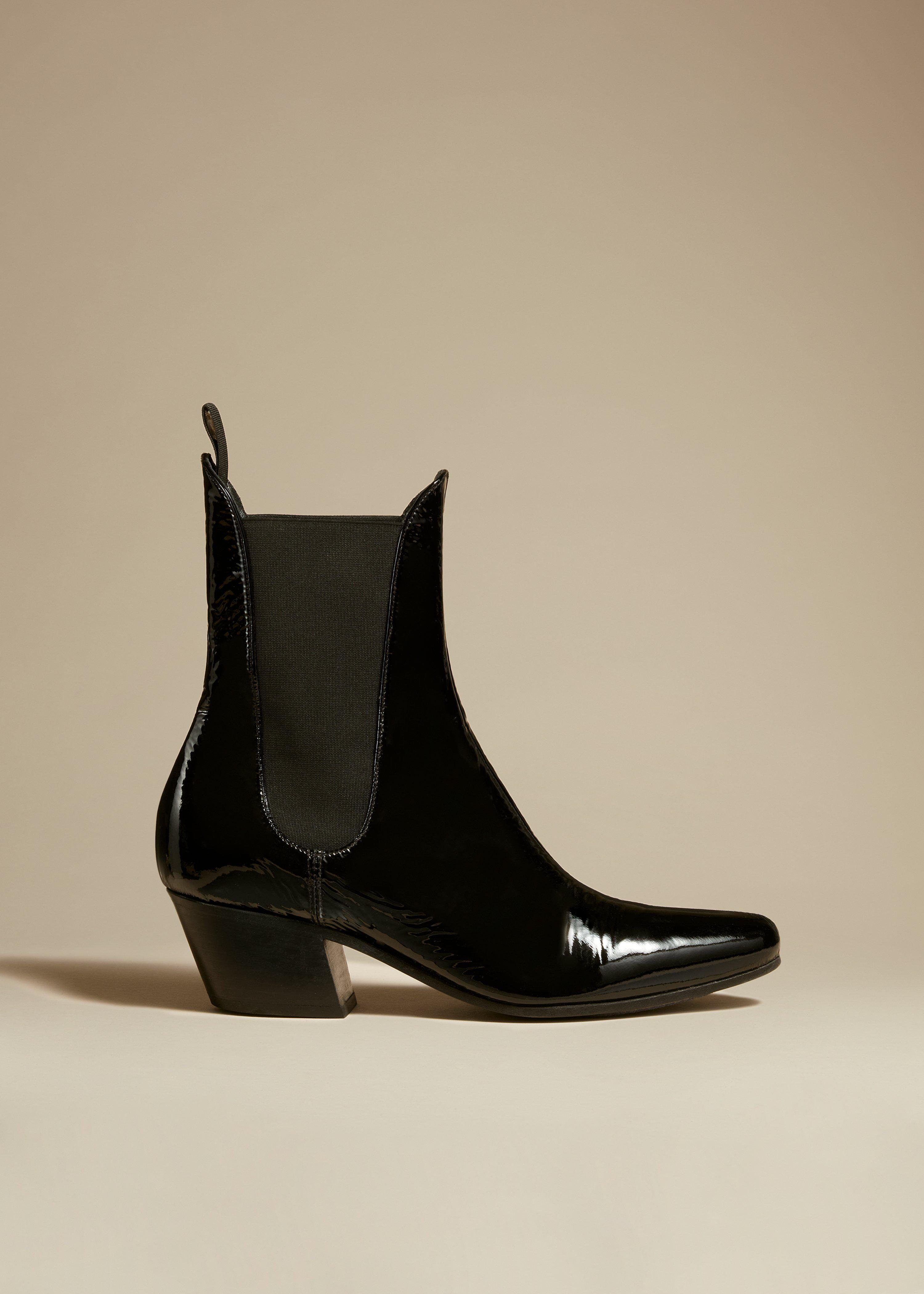 The Saratoga Boot in Black Patent Leather