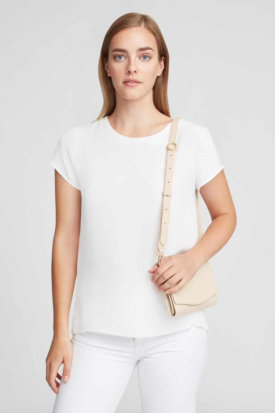 Women's Adjustable Strap in Ecru   Pebbled Leather by Cuyana 3