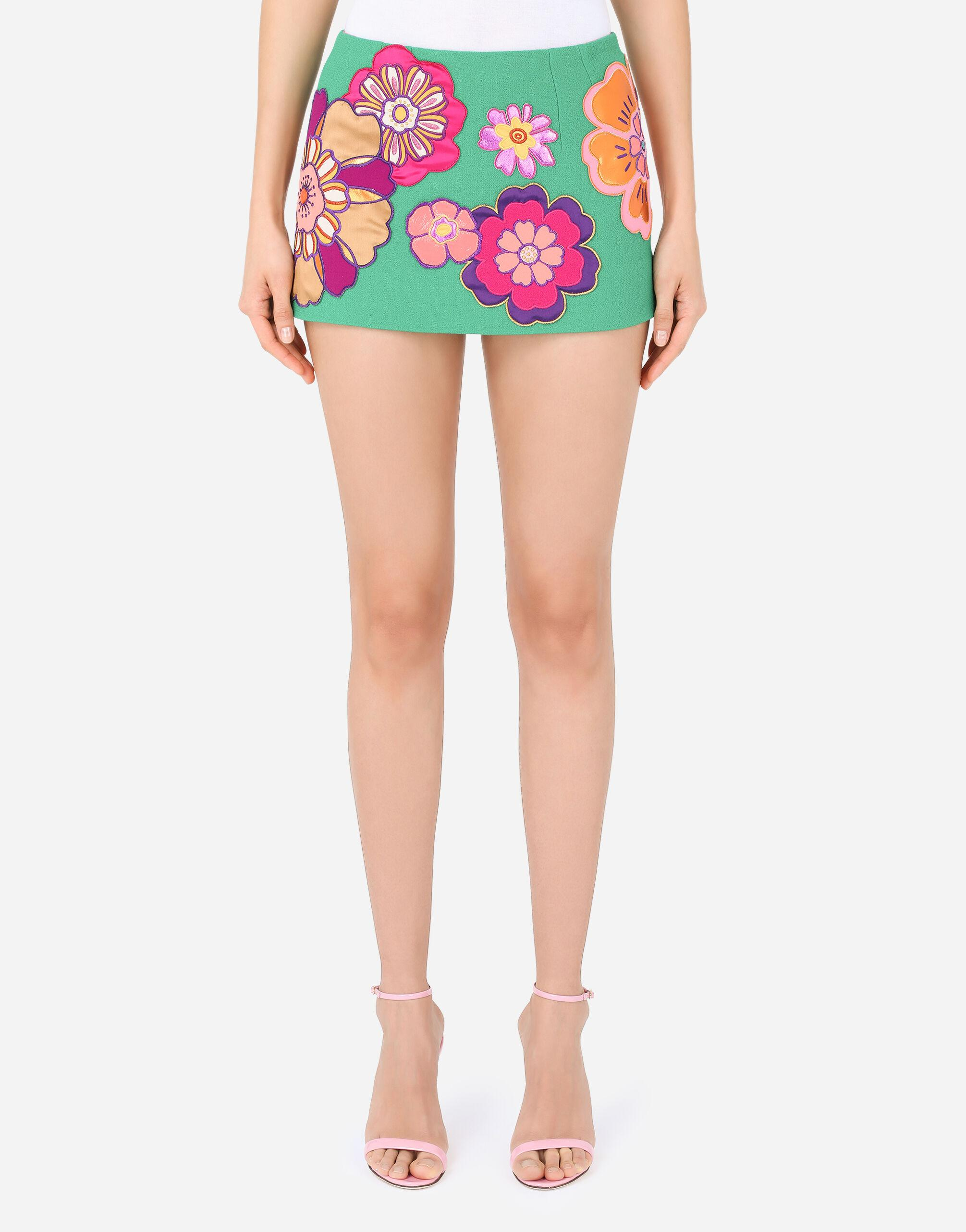 Wool crepe miniskirt with floral patches