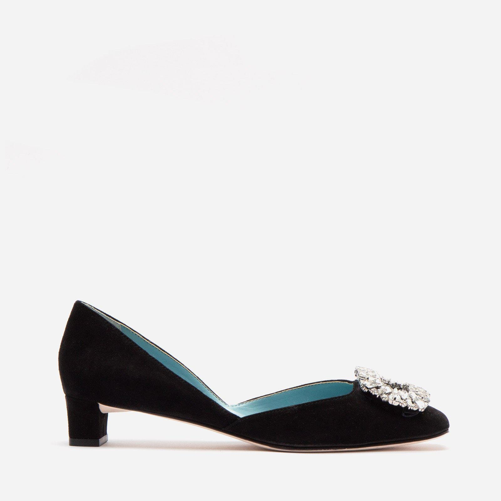 McCall Stacked Heel D'Orsay Suede Black