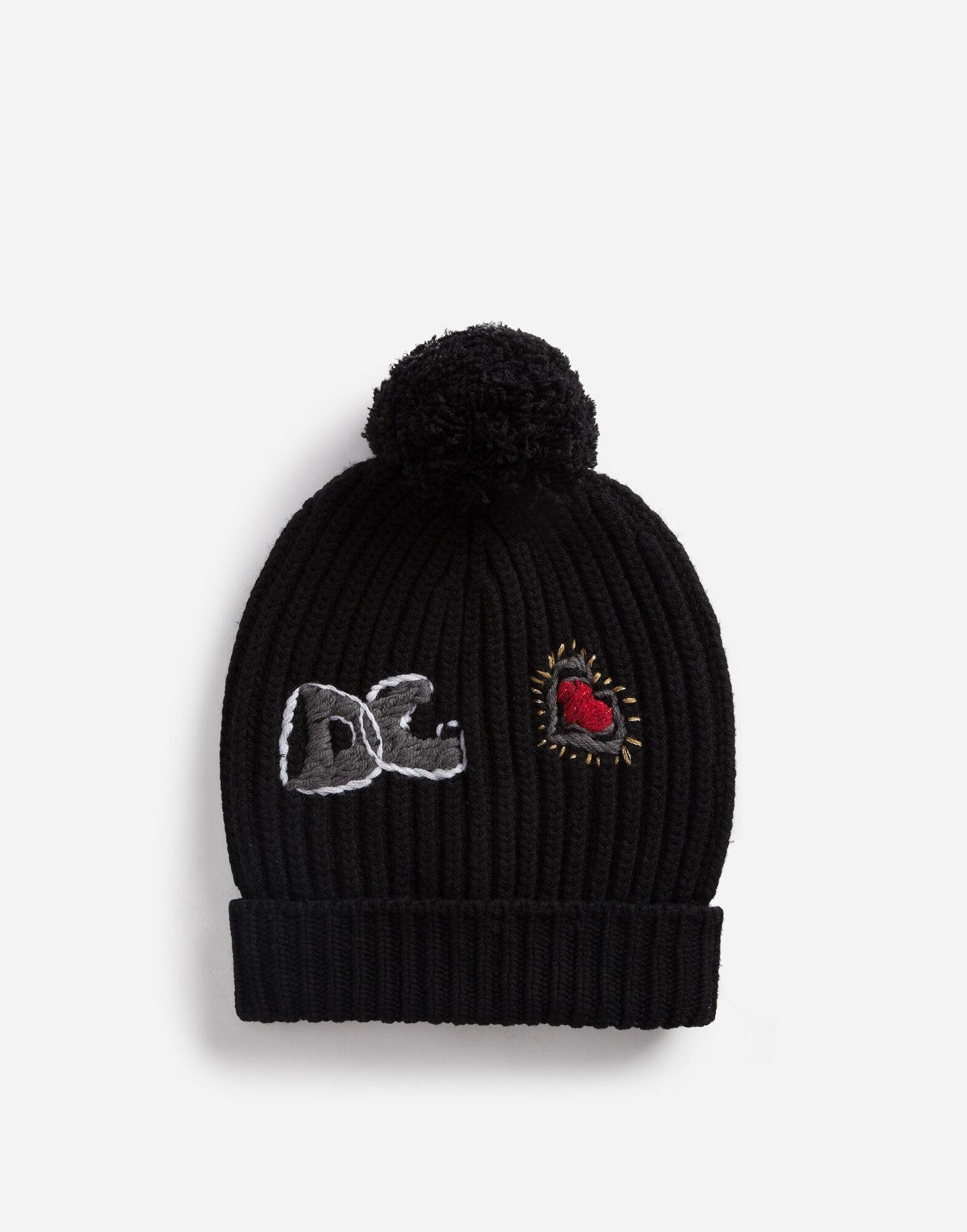 Hat in cashmere and wool with embroidered logo