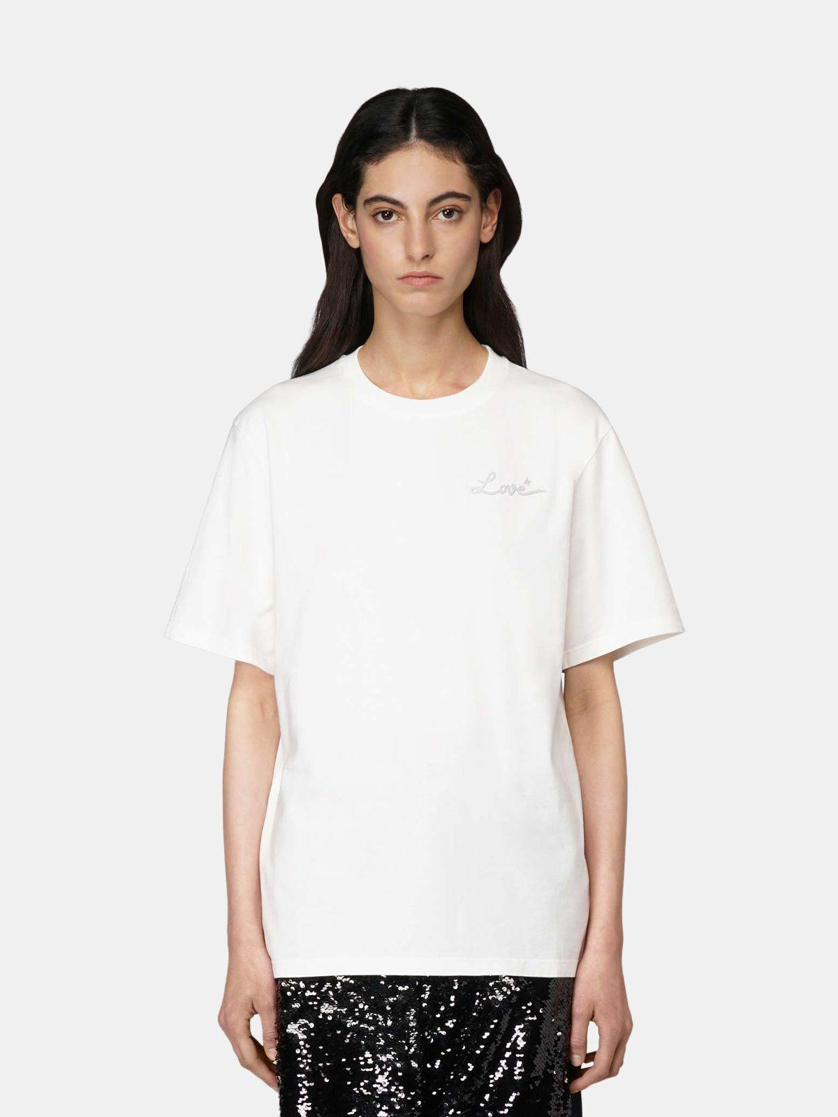 White Golden T-shirt with Love embroidery