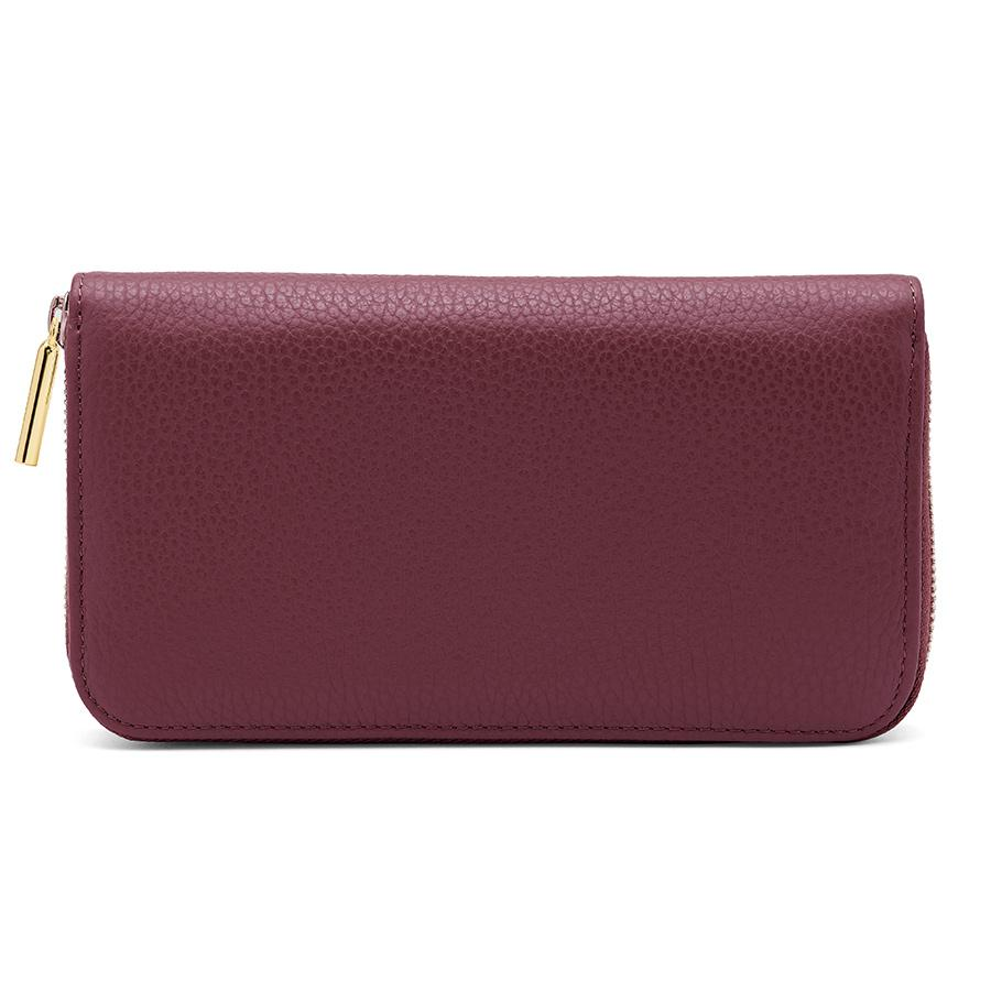 Women's Classic Zip Around Wallet in Merlot/Blush Pink | Pebbled Leather by Cuyana