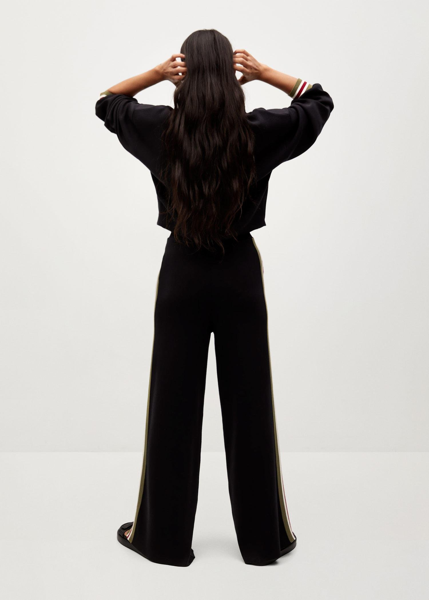 Contrasting bands knit trousers 2
