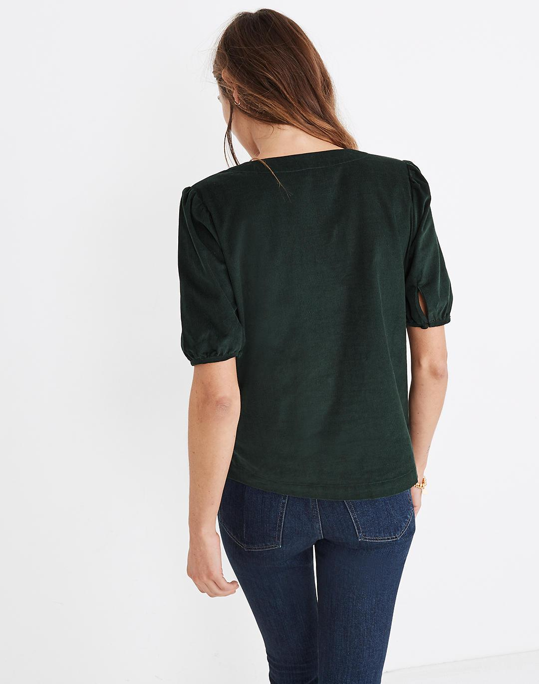 Corduroy Puff-Sleeve Button-Front Top 2