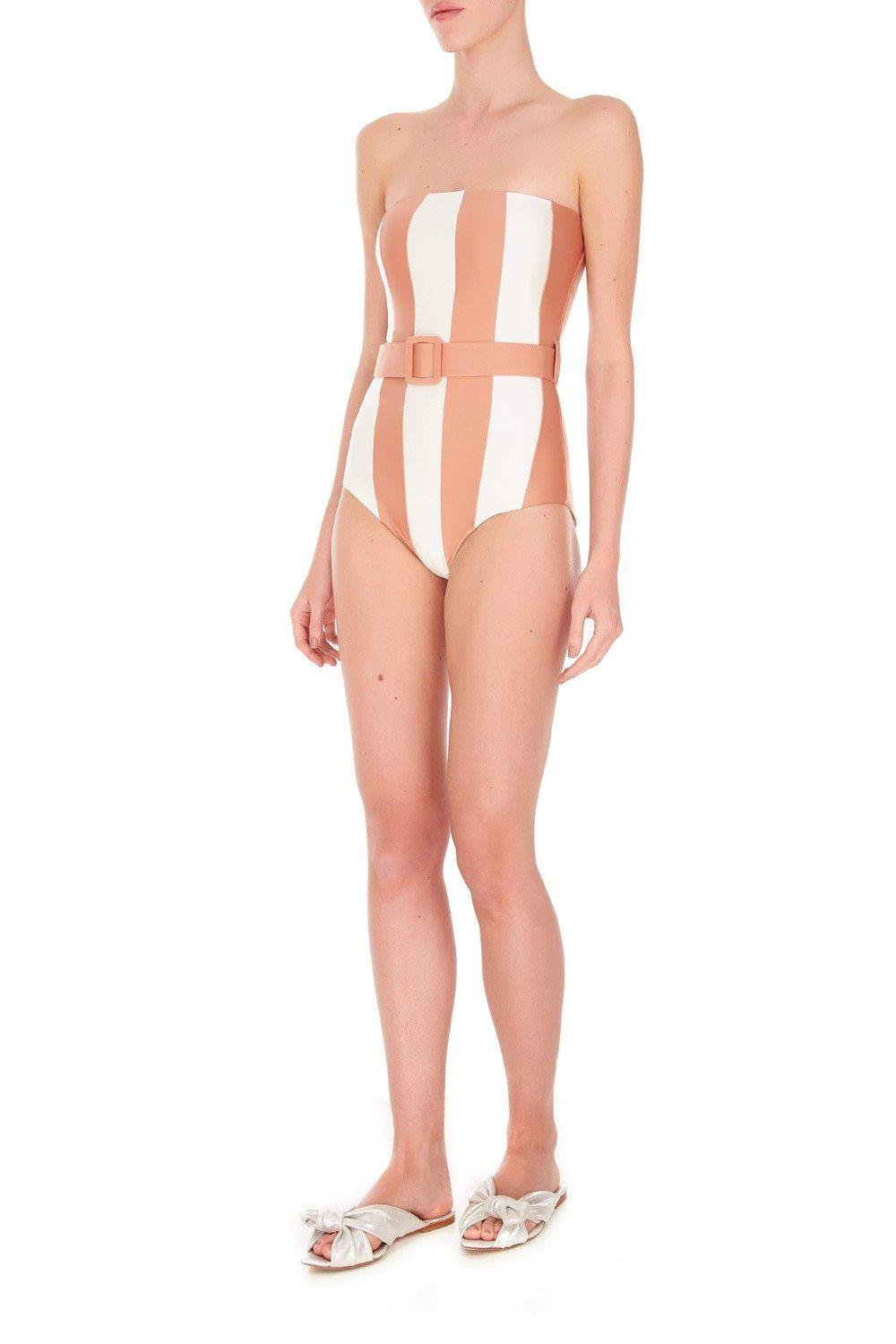 Porto Striped Strapless Swimsuit with Belt