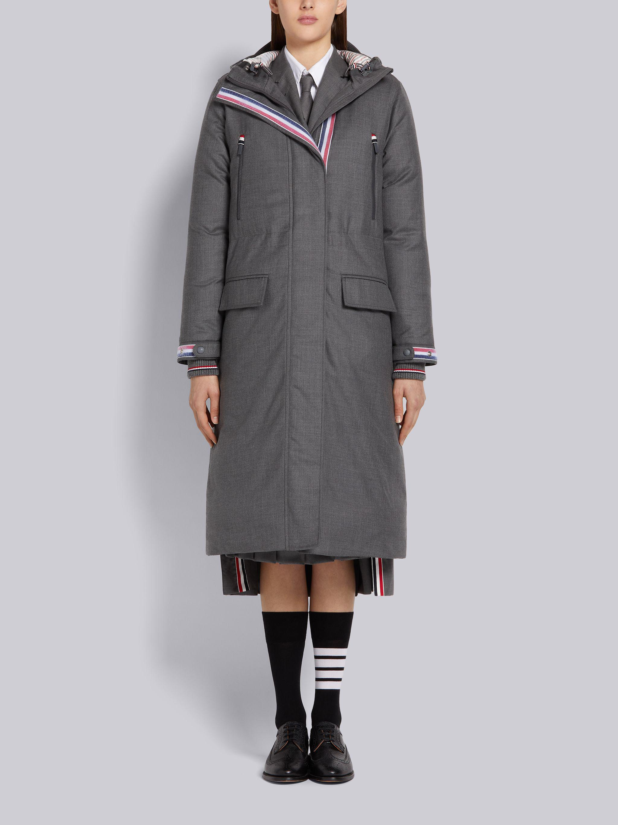 Medium Grey Down Filled Poly Twill A-line Hooded Velcro Placket Parka