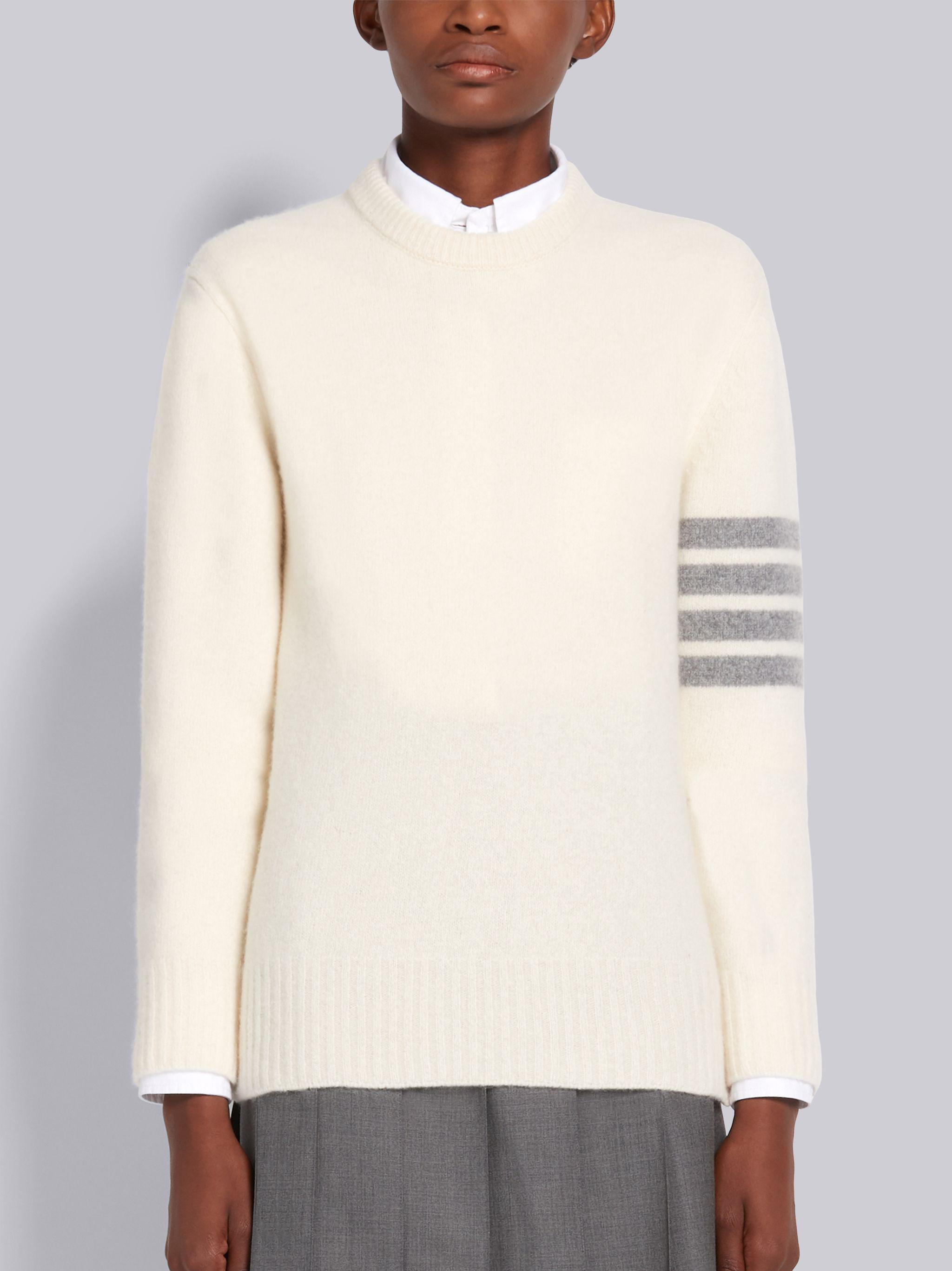 White Overwashed Cashmere Jersey Crewneck 4-Bar Pullover