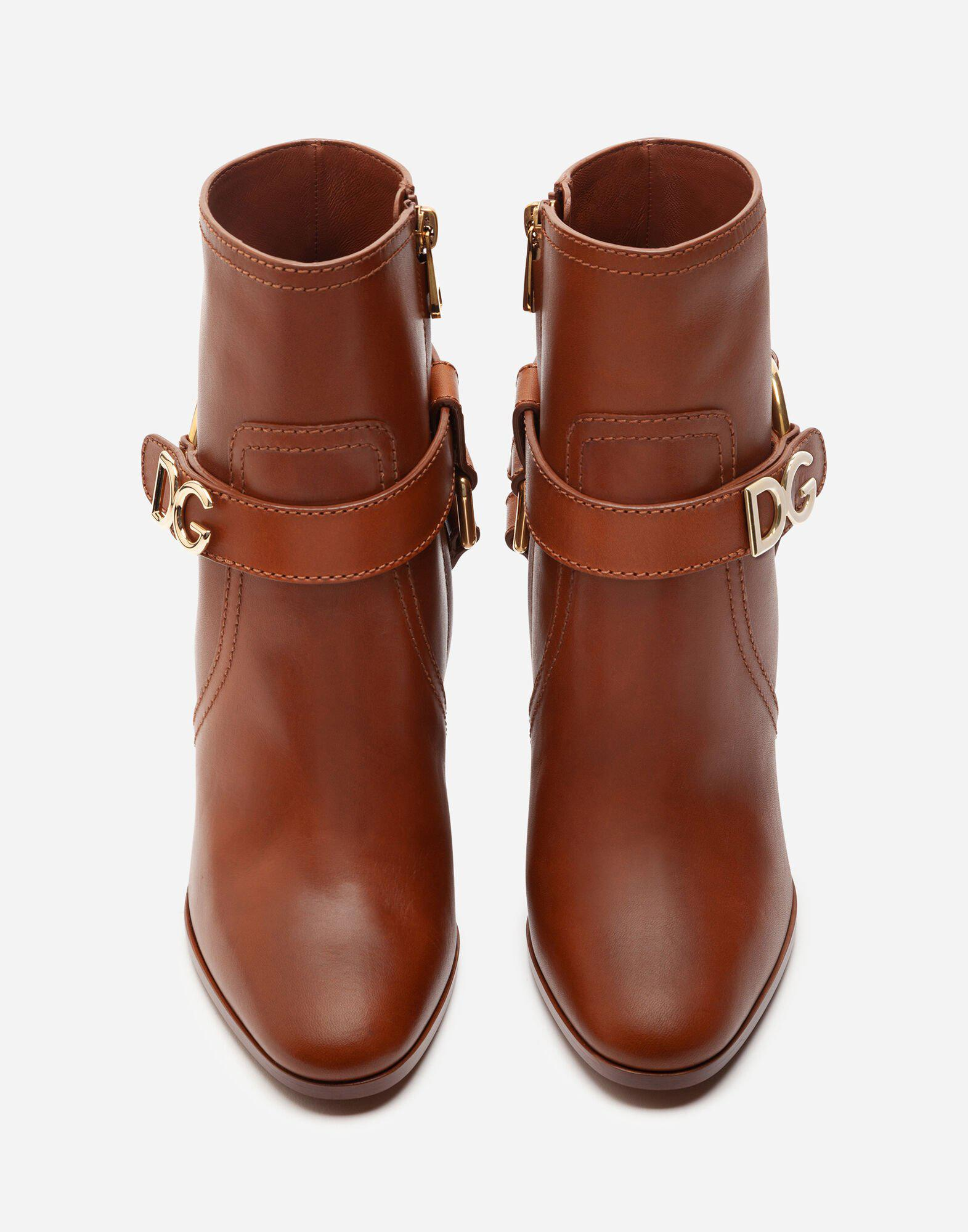 Ankle boots in cowhide with DG bracket logo 3