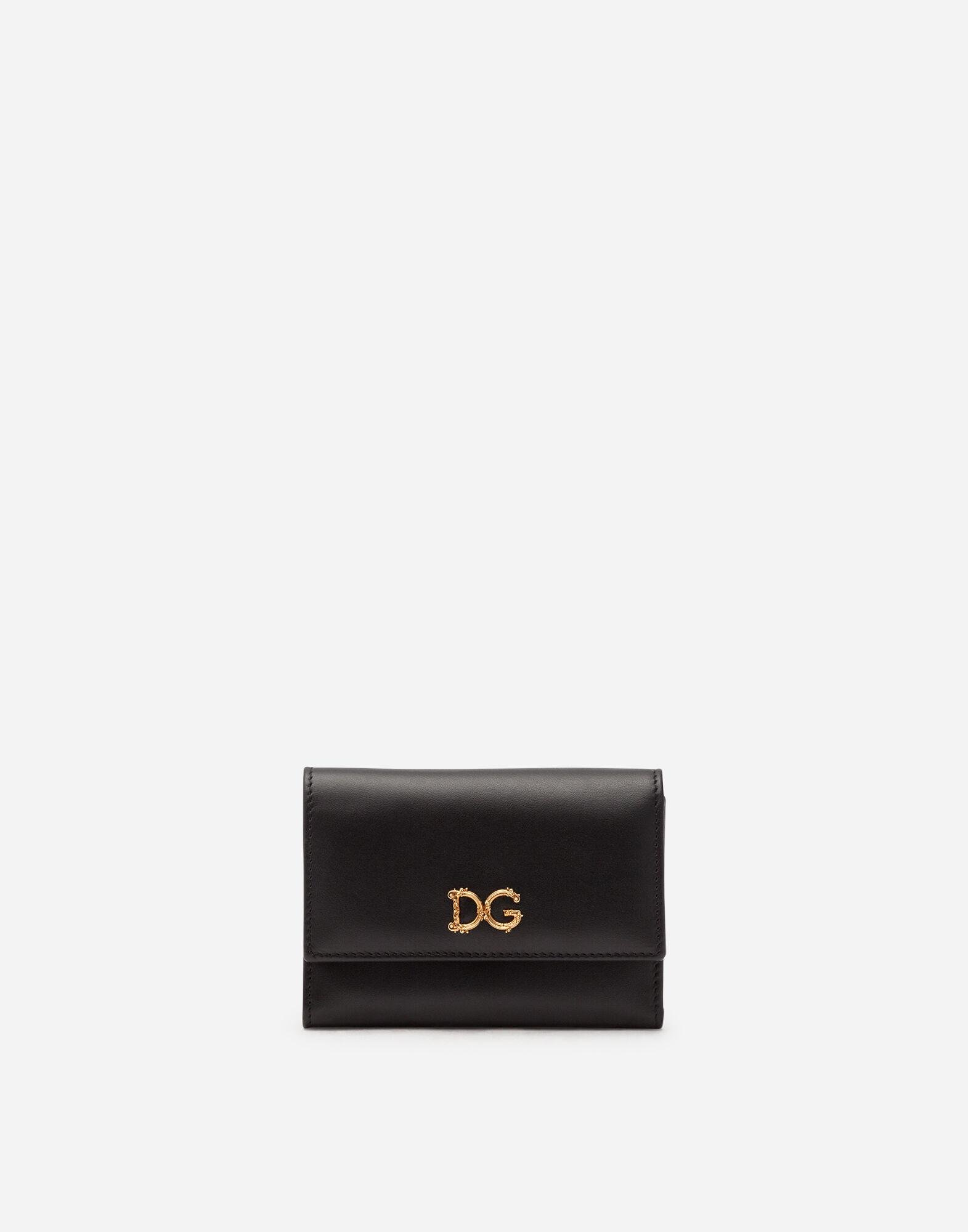 Small calfskin continental wallet with baroque D&G