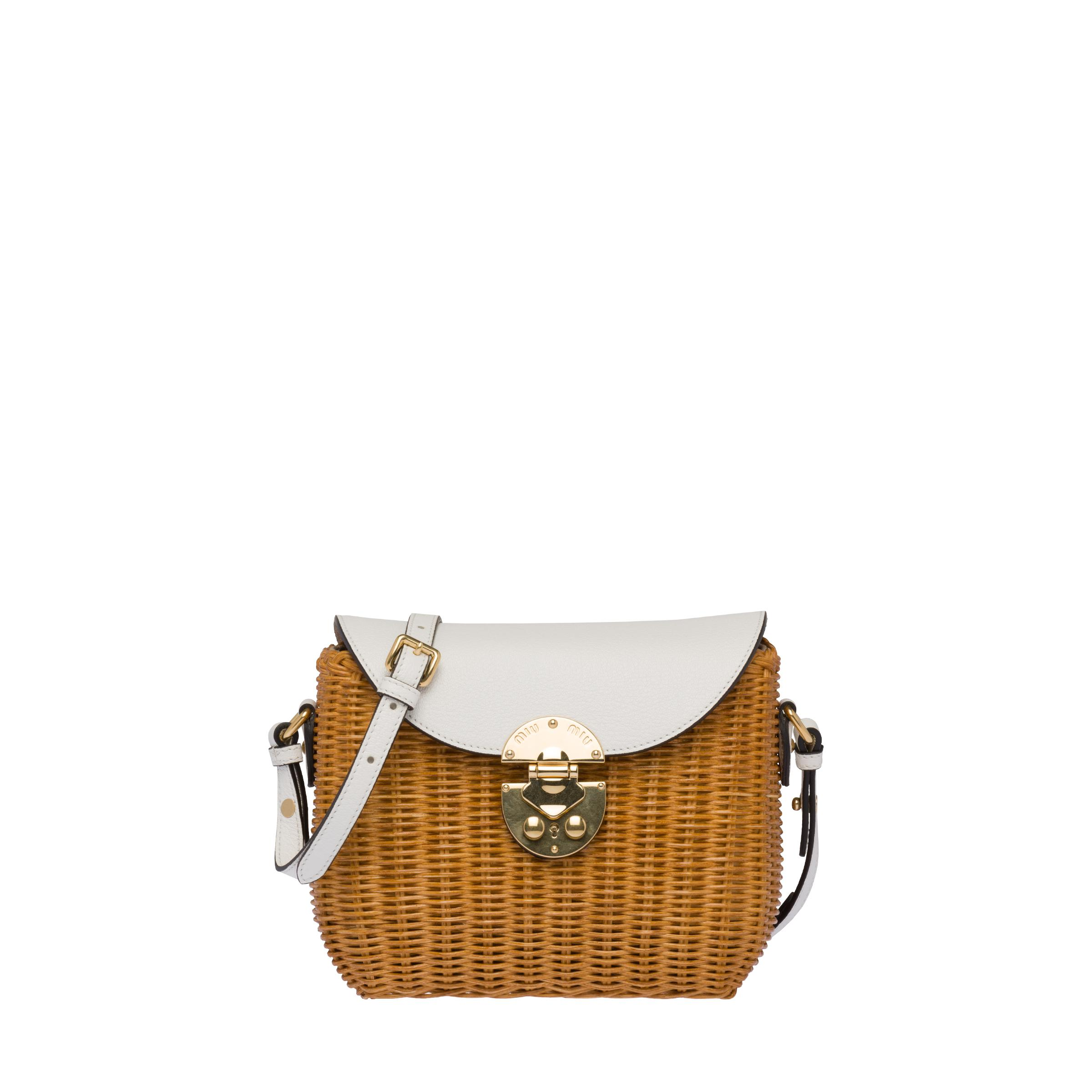 Wicker And Madras Leather Shoulder Bag Women Honey/white