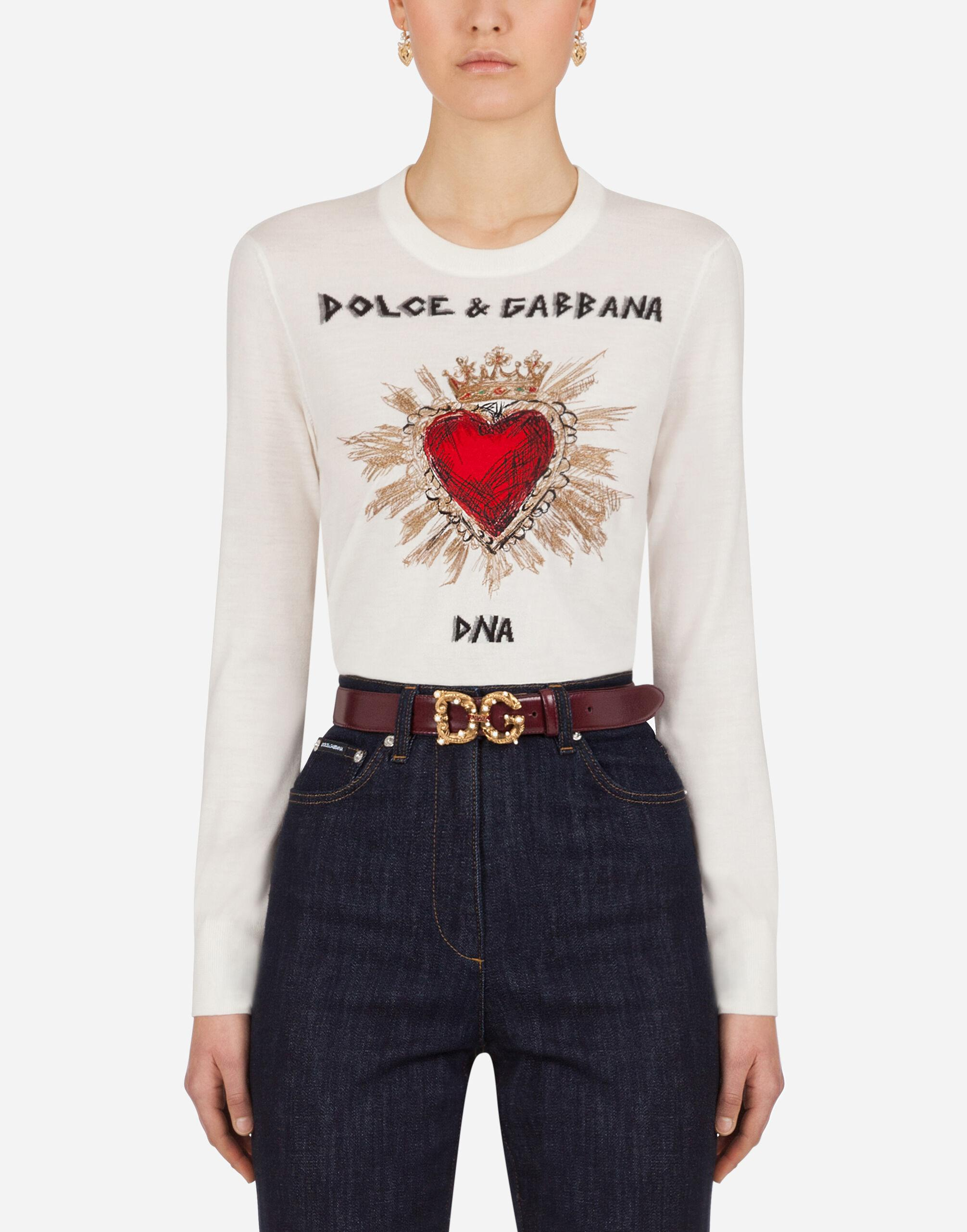 Cropped cashmere sweater with intarsia and embroidery