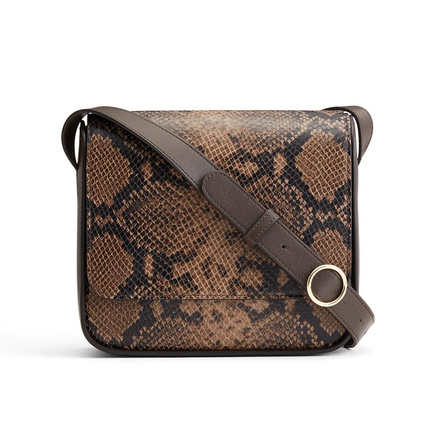 Women's Box Crossbody Bag in Brown Snake | Snake-Embossed & Smooth Leather by Cuyana