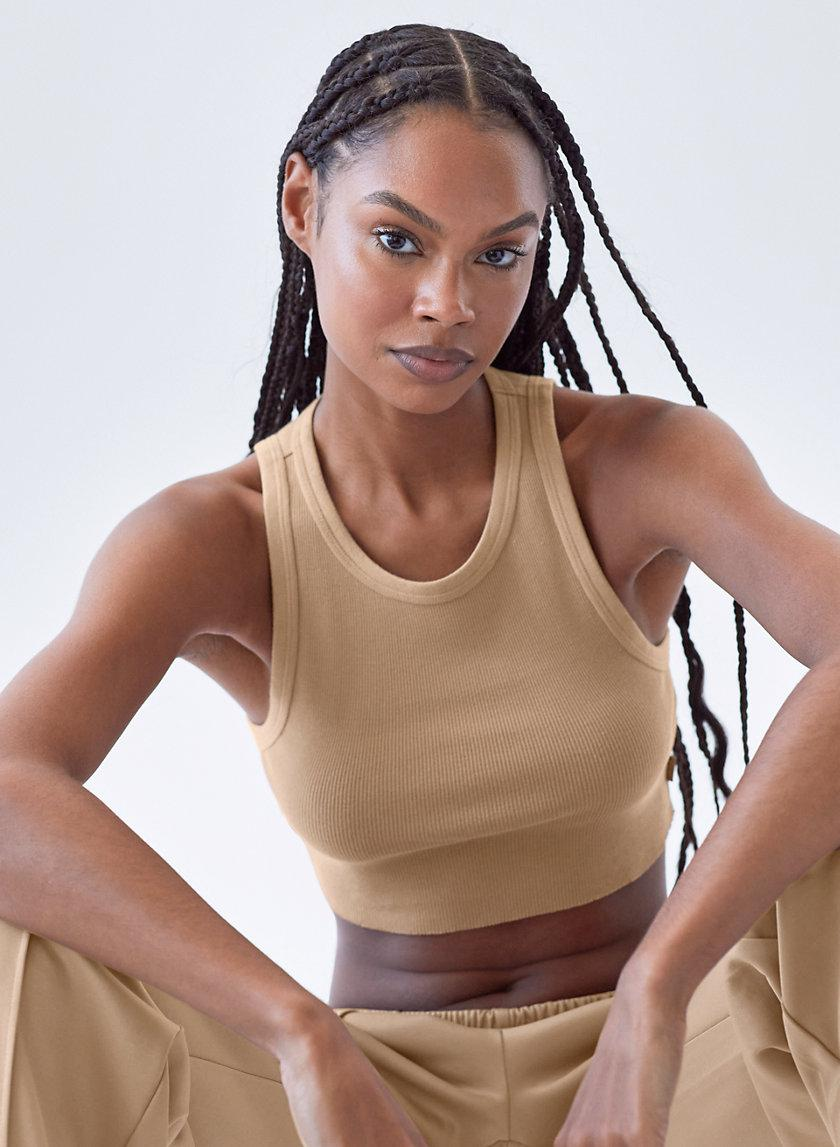 Ribbed Cropped Racer Tank