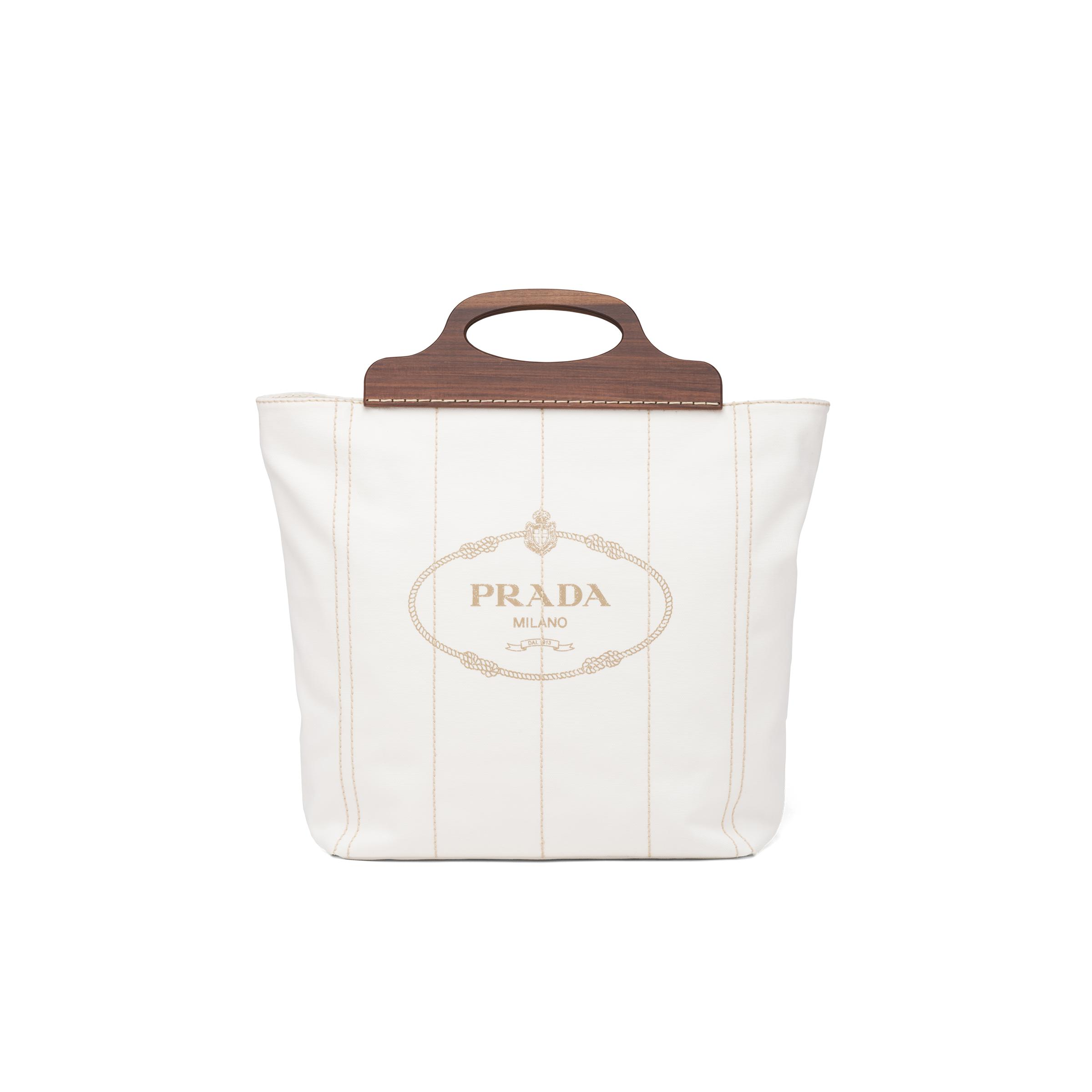 Medium Tote In Canvas And Wood Women White