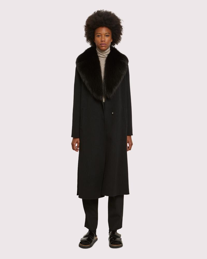 Long cashmere coat with fox collar