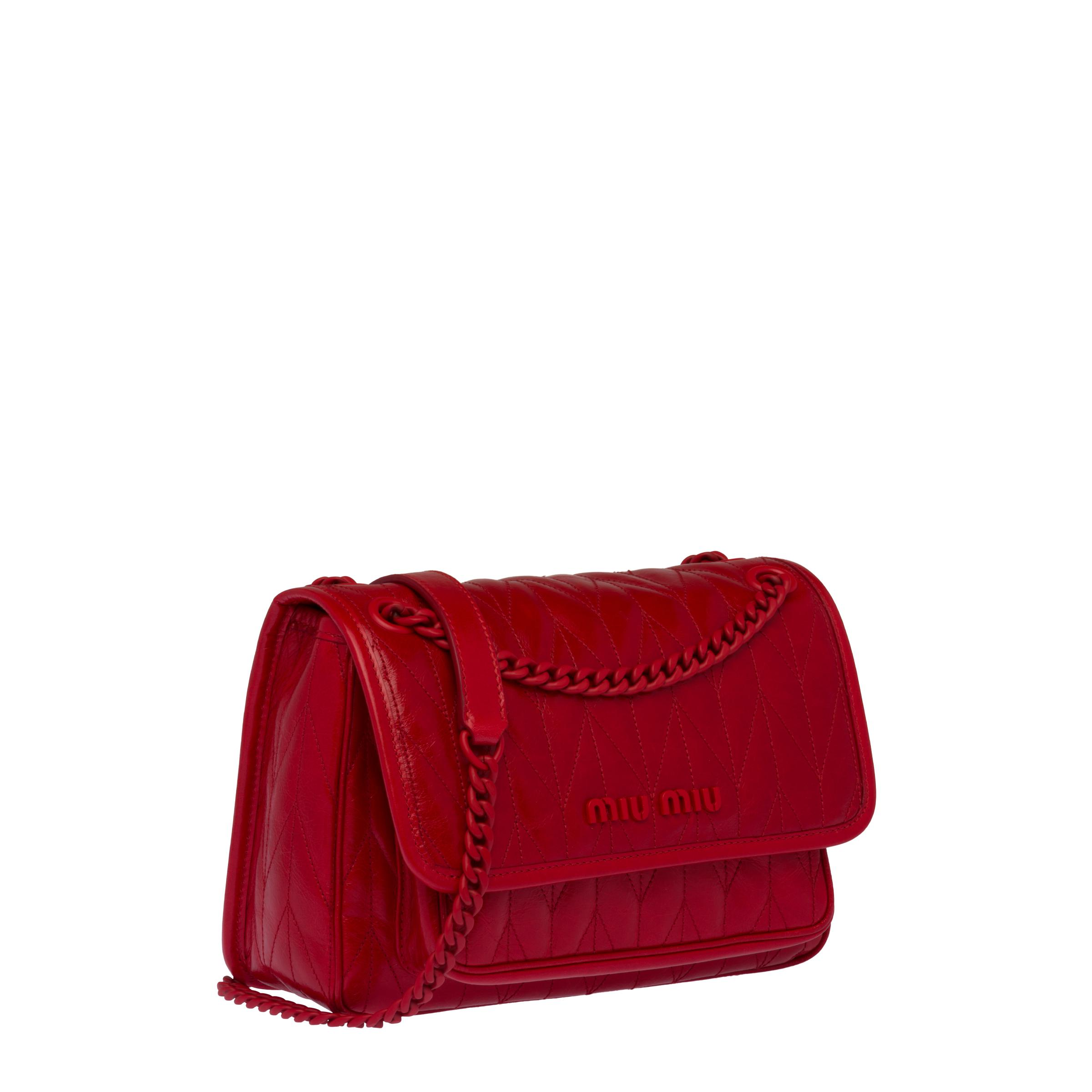 Quilted Shiny Leather Shoulder Bag Women Red 2