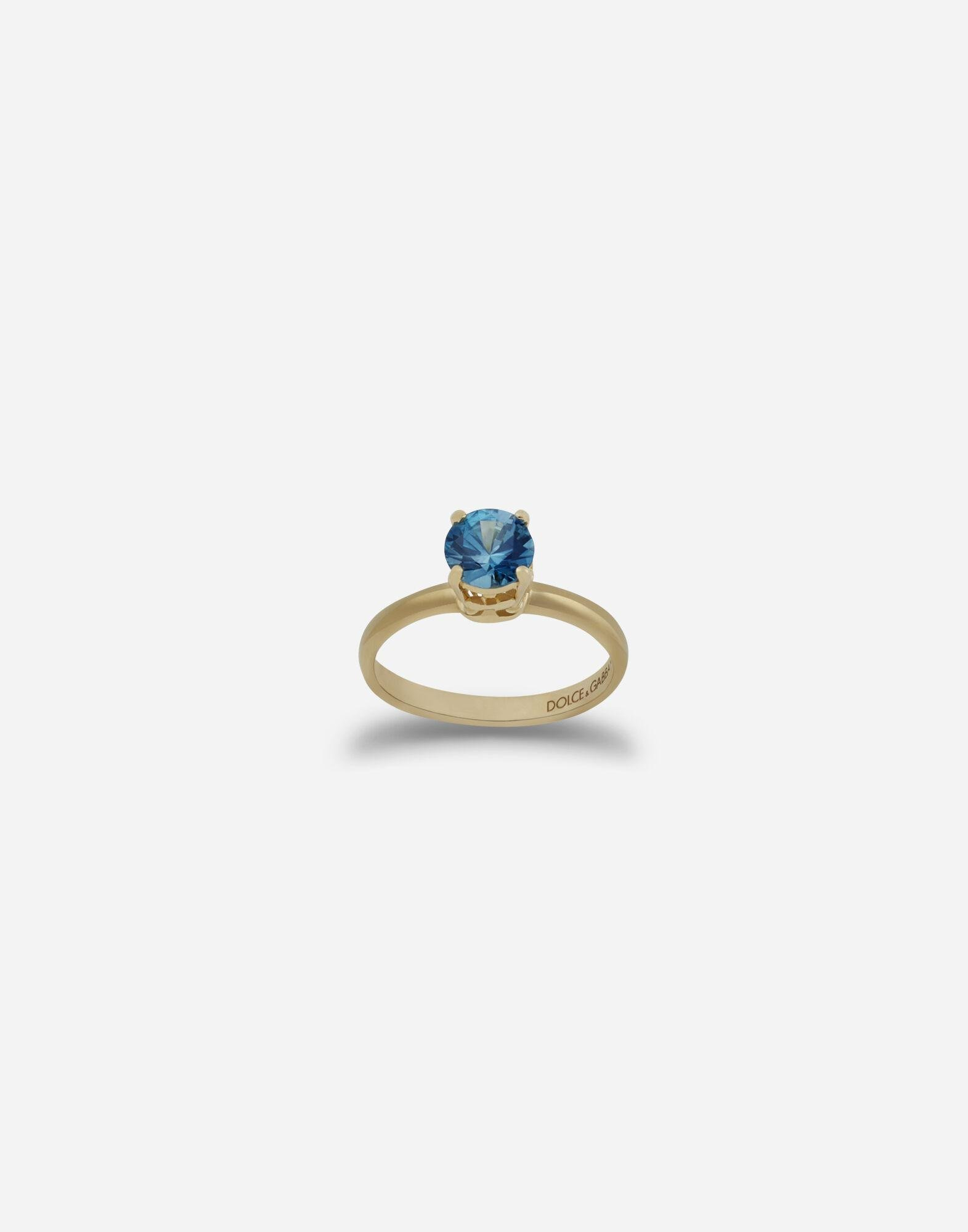 Heritage ring in yellow gold with zircon