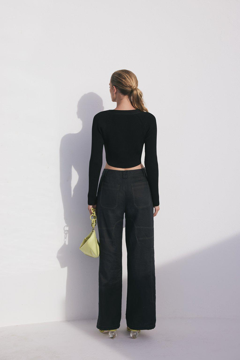 BEVERLY KNIT SWEATER - BLACK 1