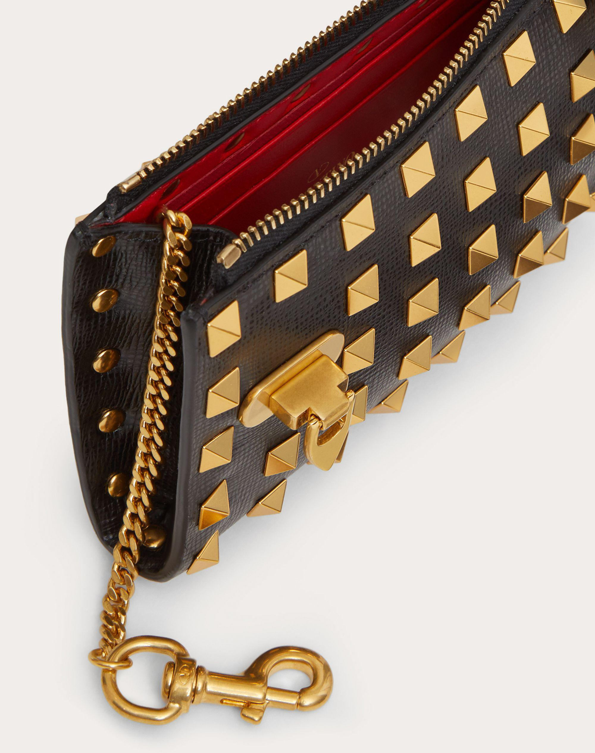 VALENTINO GARAVANI ROCKSTUD COIN PURSE AND CARDHOLDER IN GRAINY CALFSKIN LEATHER WITH ALL-OVER STUDS 4